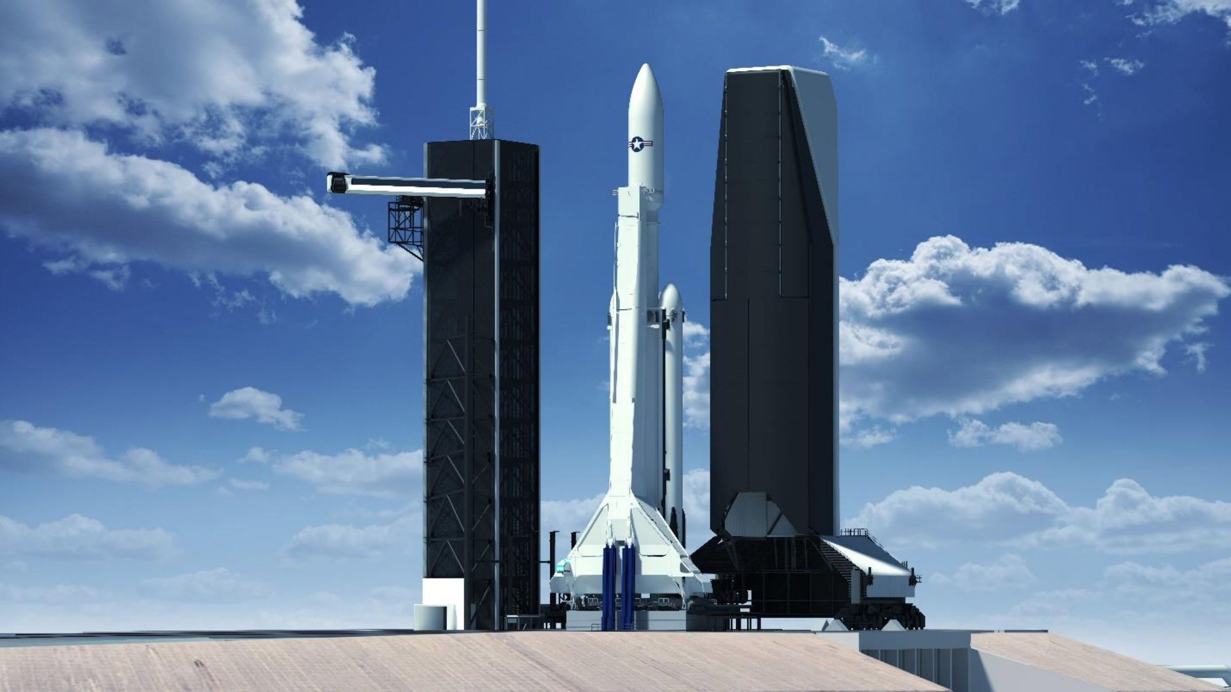Pad 39A mobile service tower renders (SpaceX) Falcon Heavy stretched fairing 1