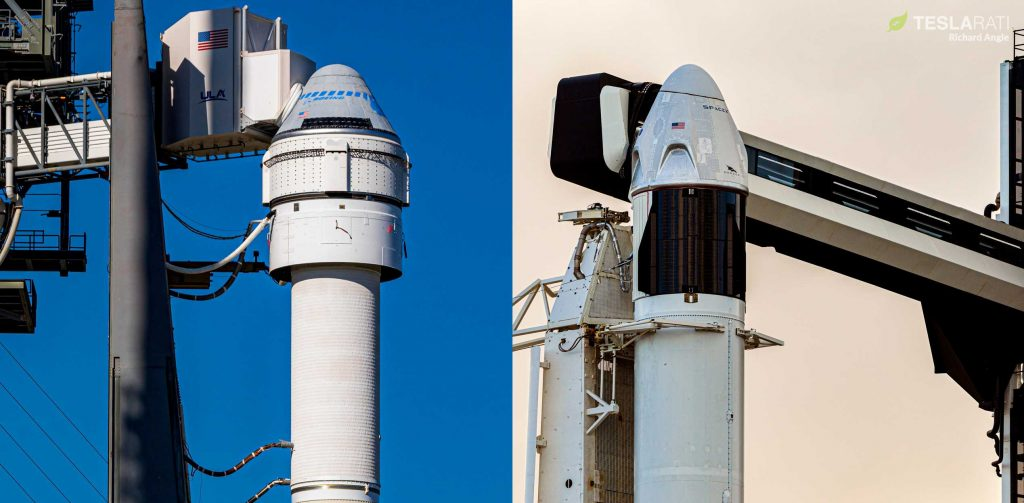 Boeing's Starliner and SpaceX's Crew Dragon spacecraft stand vertical at their respective launch pads in December 2019 and January 2020. Crew Dragon has now performed two successful full-up launches to Starliner's lone partial failure. (Richard Angle)