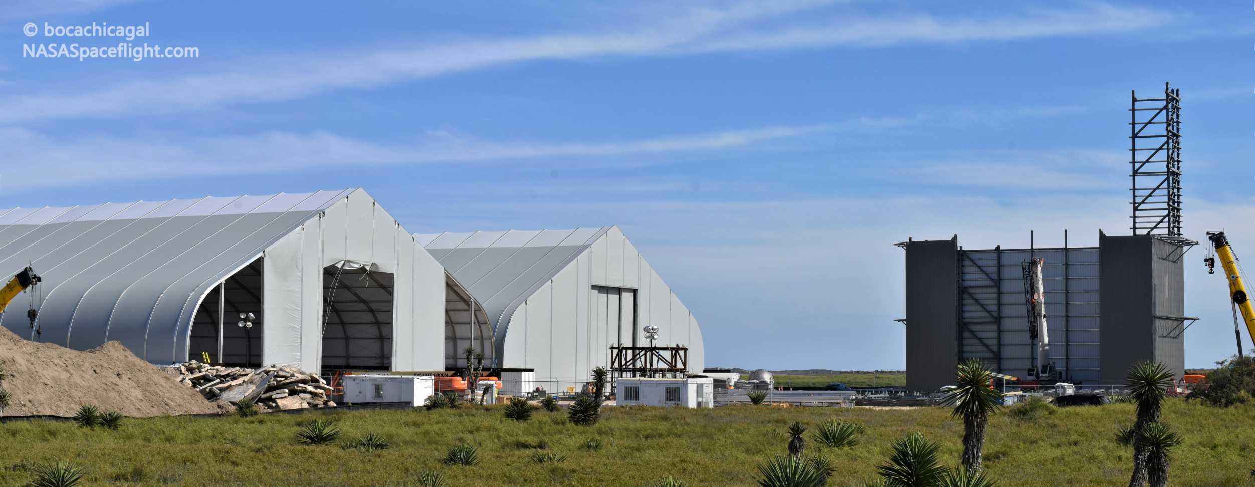 Starship Boca Chica 020220 (NASASpaceflight – bocachicagal) tent + VAB pano 1 (c)