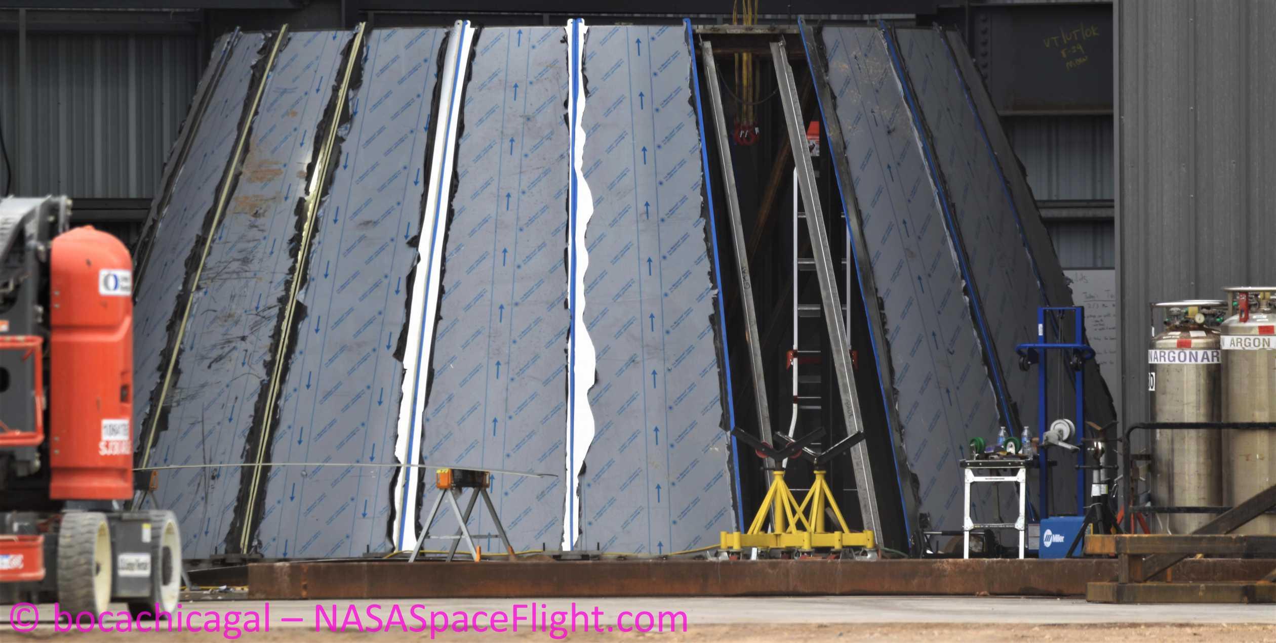 Starship Boca Chica 020420 (NASASpaceflight – bocachicagal) SN01 nose work 1 (c)
