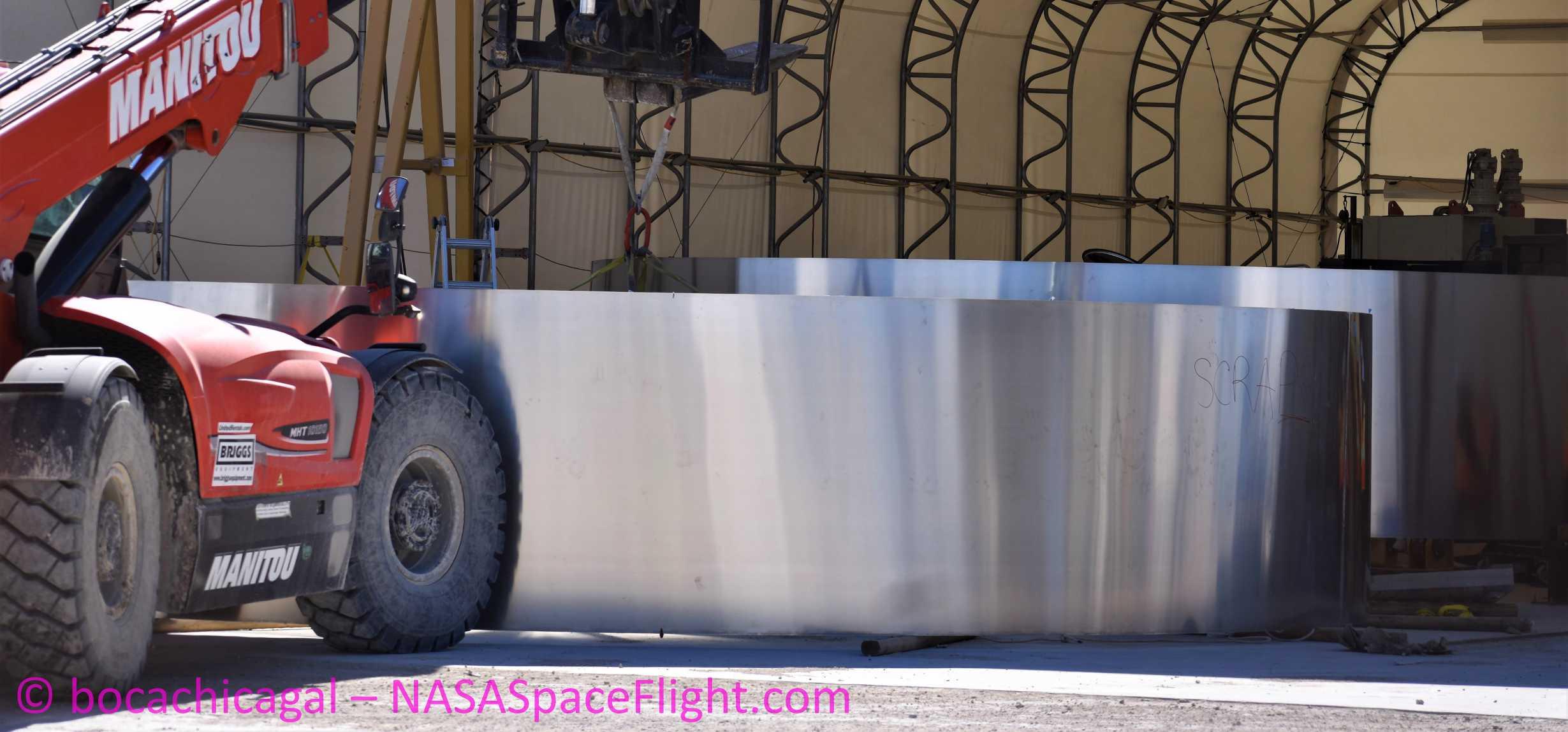 Starship Boca Chica 020620 (NASASpaceflight – bocachicagal) SN01 ring work 1 crop (c)