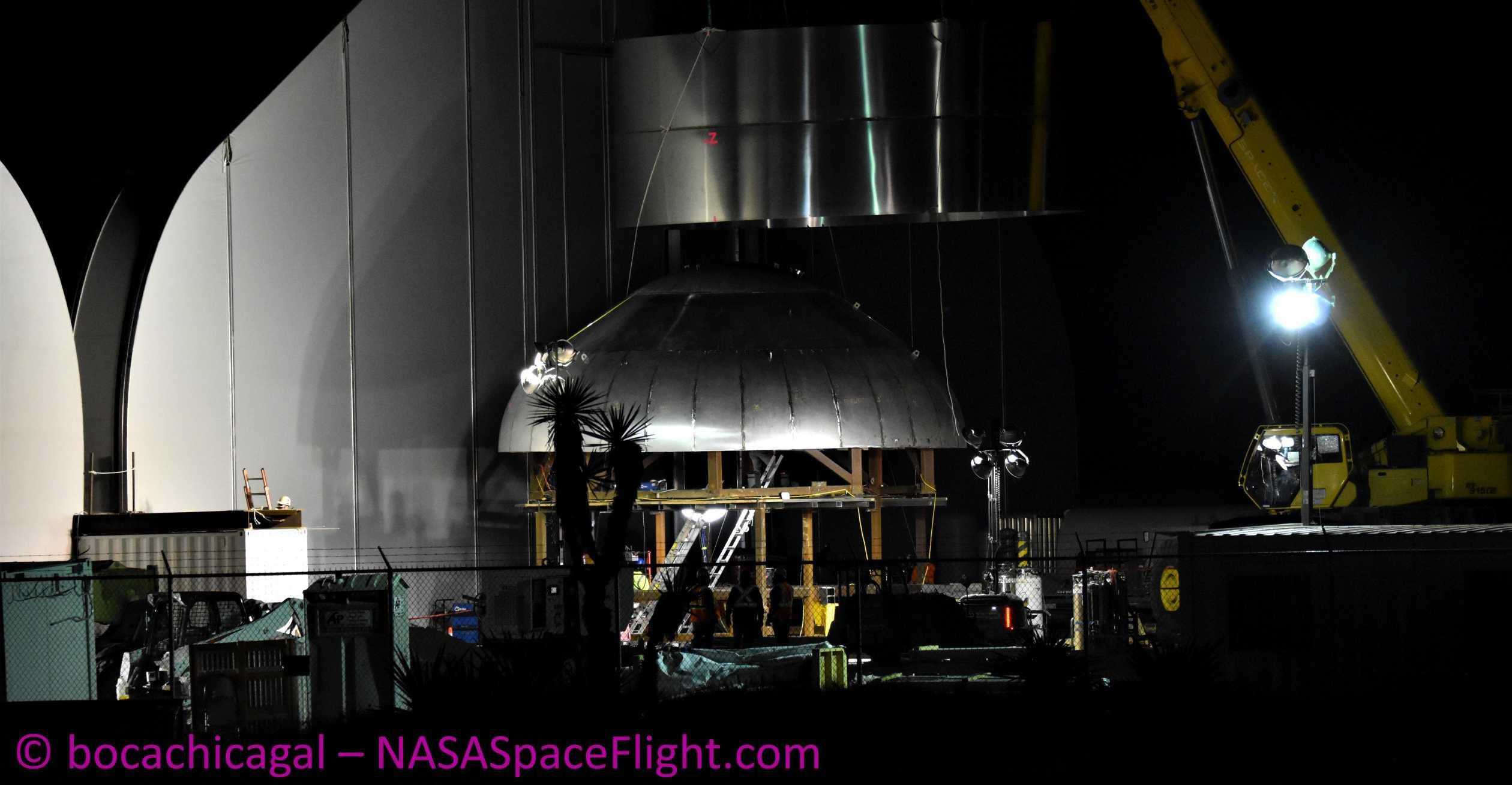 Starship Boca Chica 020820 (NASASpaceflight – bocachicagal) SN01 ring dome mate 1 crop (c)