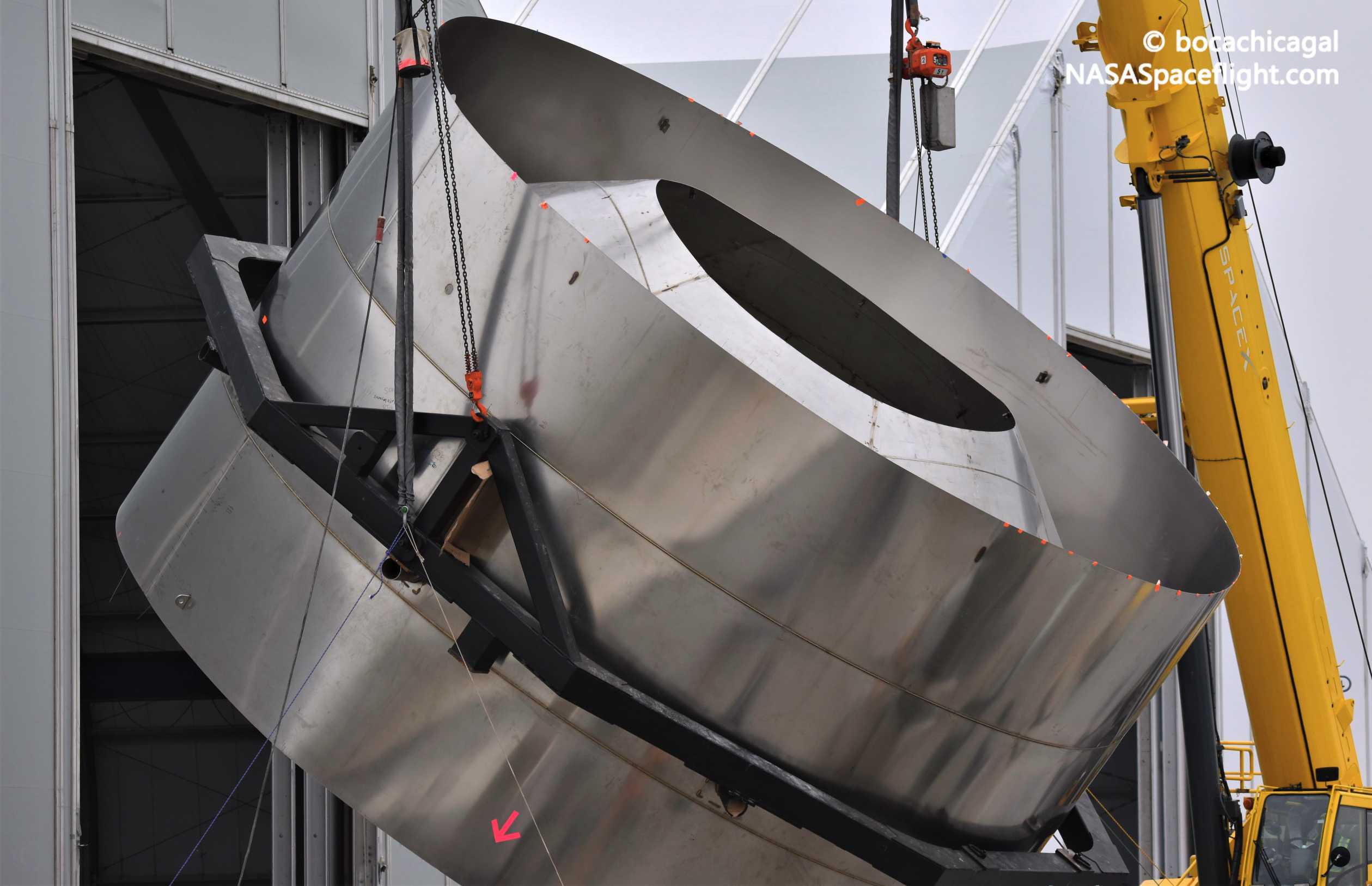 Starship Boca Chica 020920 (NASASpaceflight – bocachicagal) SN01 dome ring flip 3 (c)