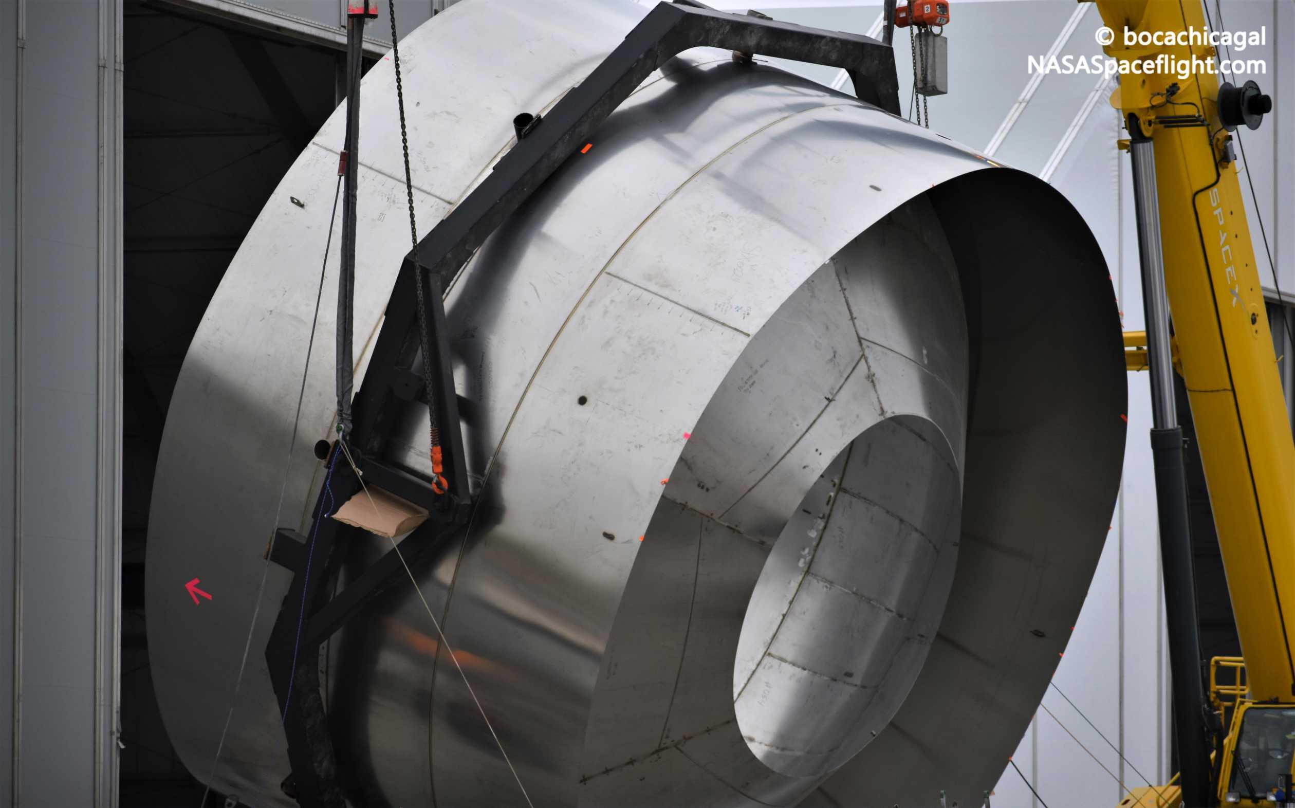 Starship Boca Chica 020920 (NASASpaceflight – bocachicagal) SN01 dome ring flip 4 crop (c)