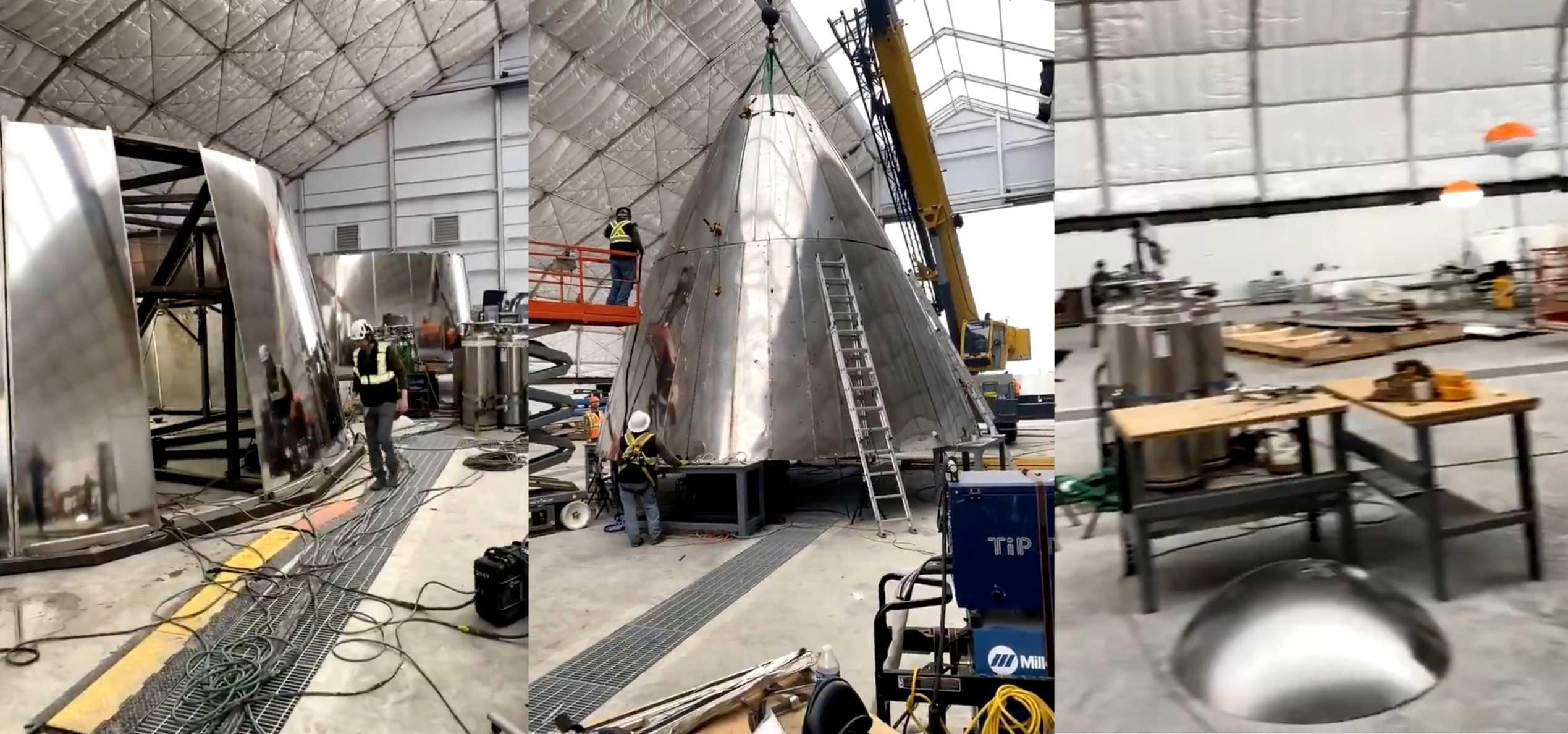 Starship nosecone production tent 021920 (Elon Musk) SN01 mosaic 2 (c)