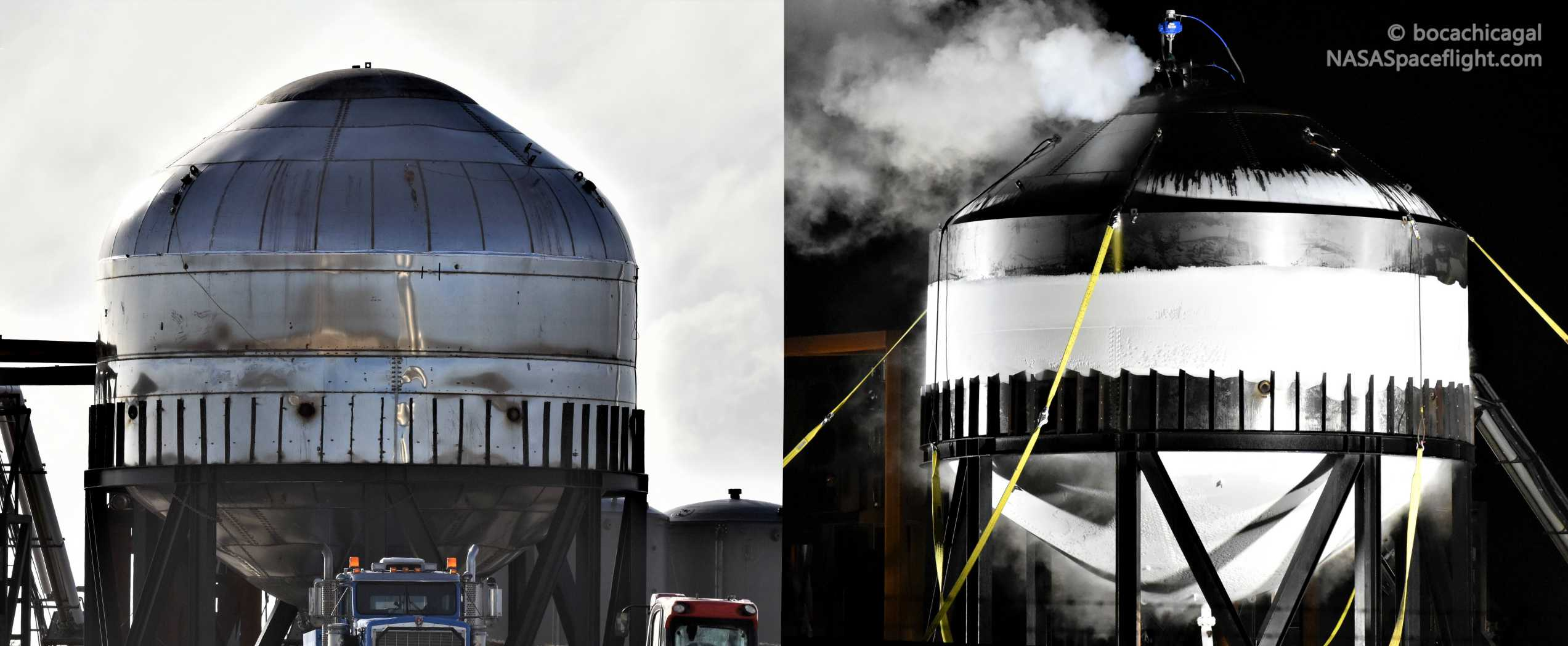 Starship test tanks #1 #2 Jan 2020 (NASASpaceflight – bocachicagal) 1 crop (c)