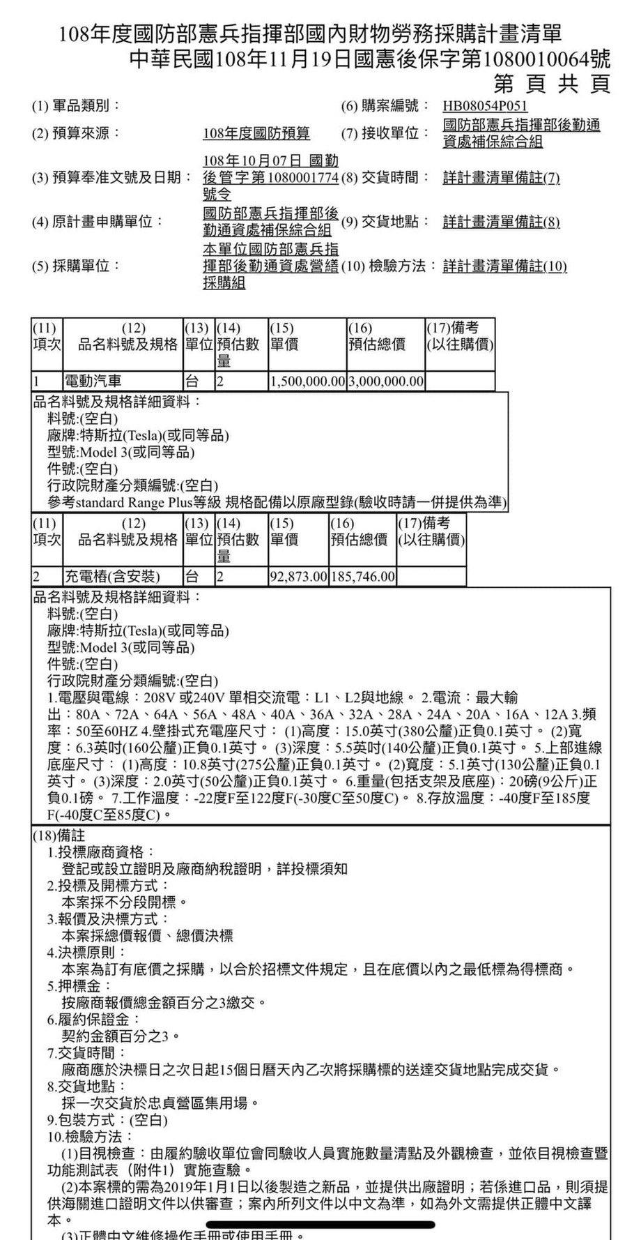 Taiwan Military – Tesla Model 3