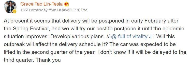 Tesla China Delivery Delays Due To Coronavirus Outbreak