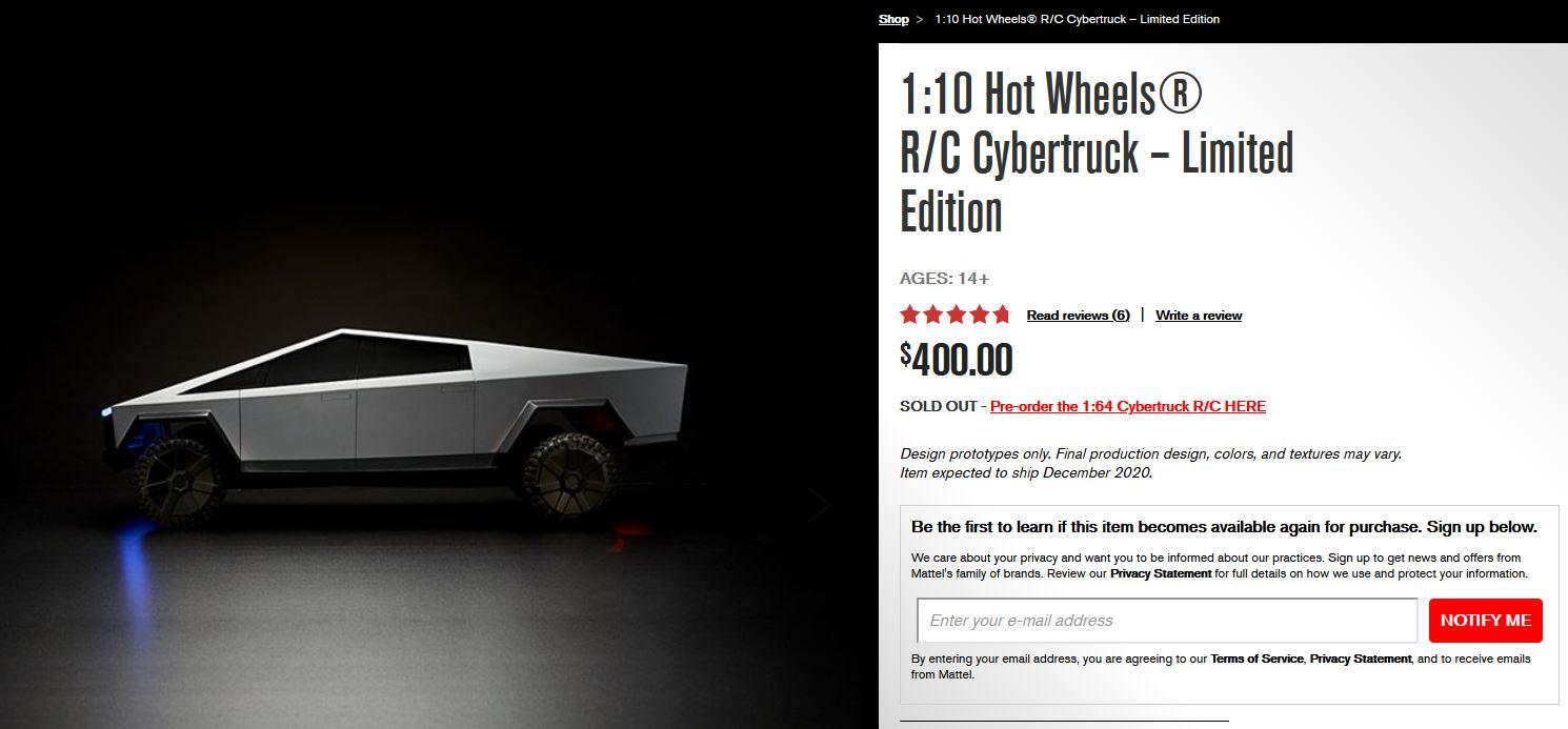 Tesla Cybertruck Hot Wheels RC – Sold Out
