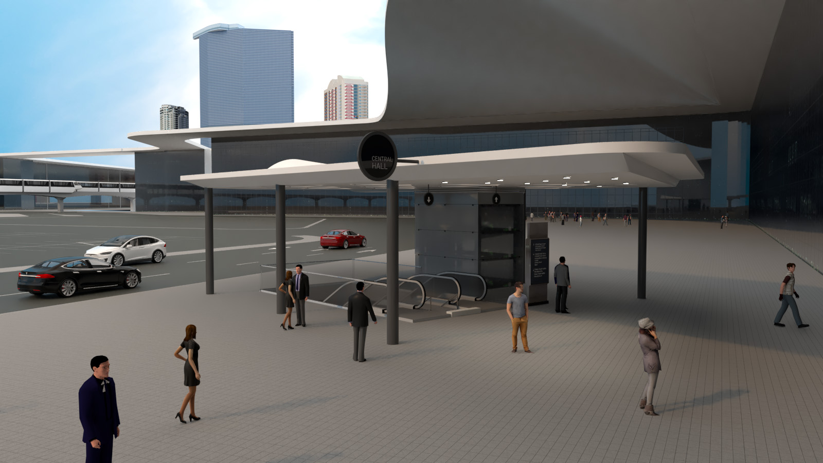 Conceptual rendering of a Boring Company People Mover station at the Las Vegas Convention Center