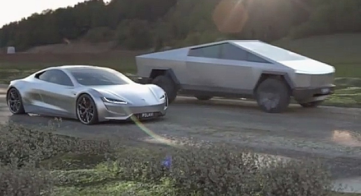 Tesla Cybertruck and Roadster face off for some backroad mayhem in fan video