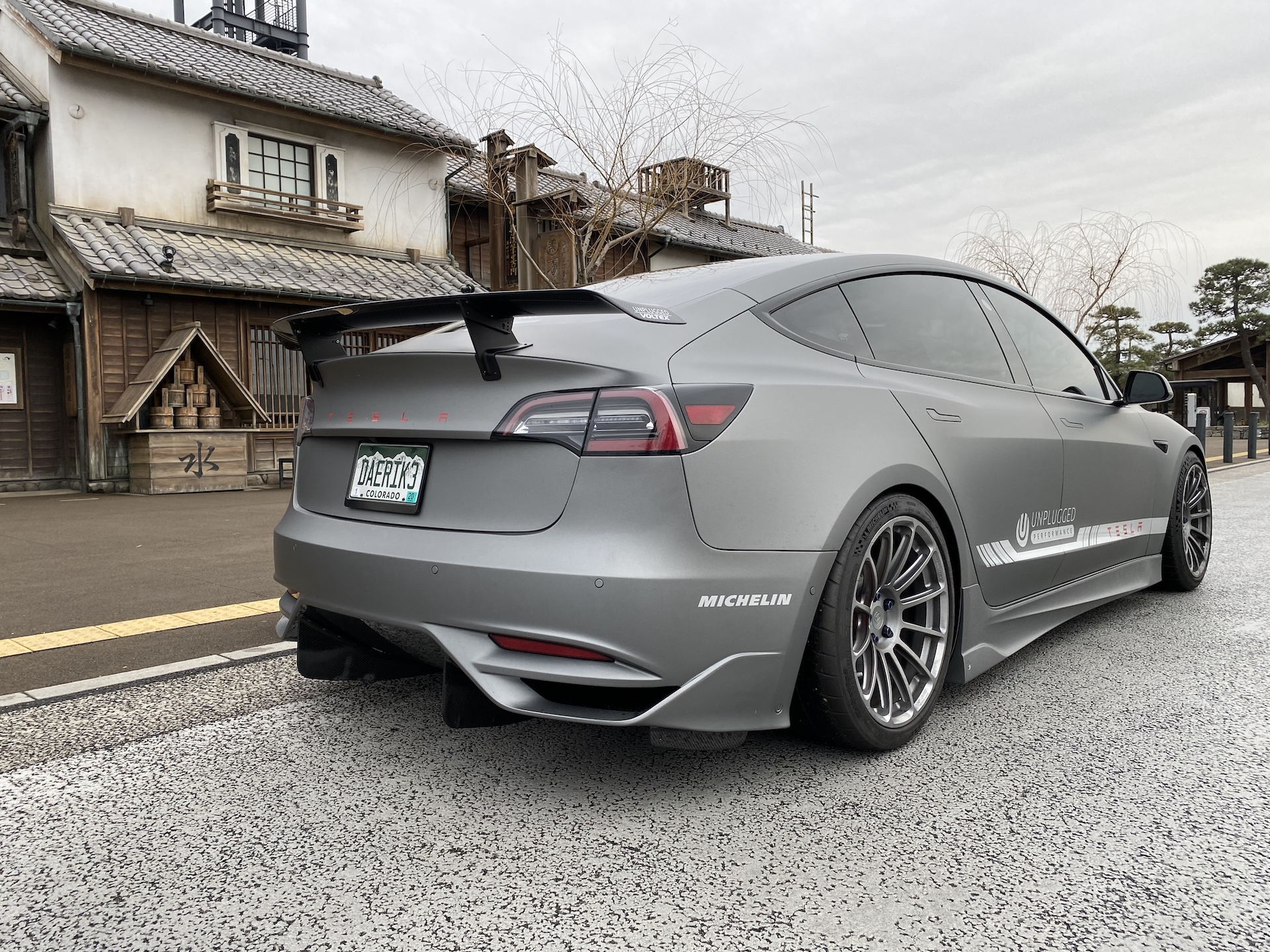 Tesla Model 3 Ascension-R rear spoiler, Japan (Source: Unplugged Performance)