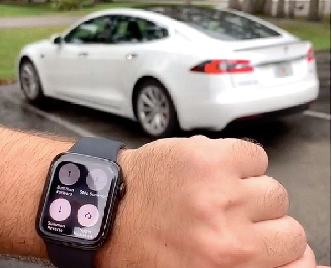 tesla-model-s-summon-parking-lot-apple-watch
