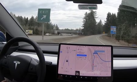 Tesla Model 3 exits freeway on Autopilot