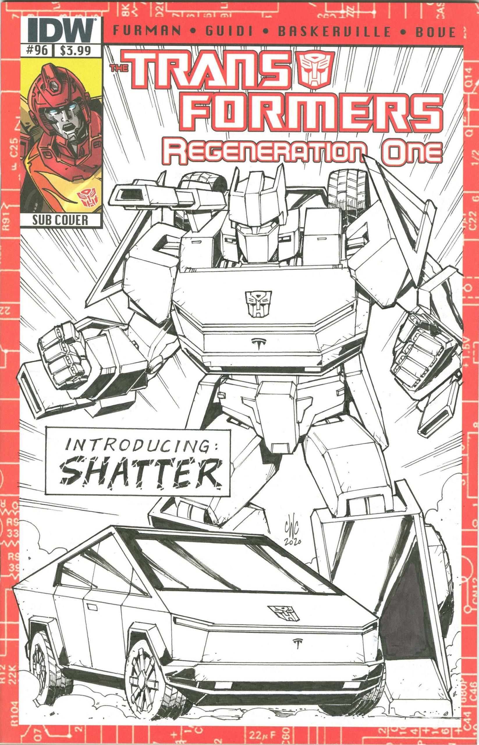 Tesla Cybertruck Transformers Comic (Credit: Artist/Casey Coller, Yoshi)