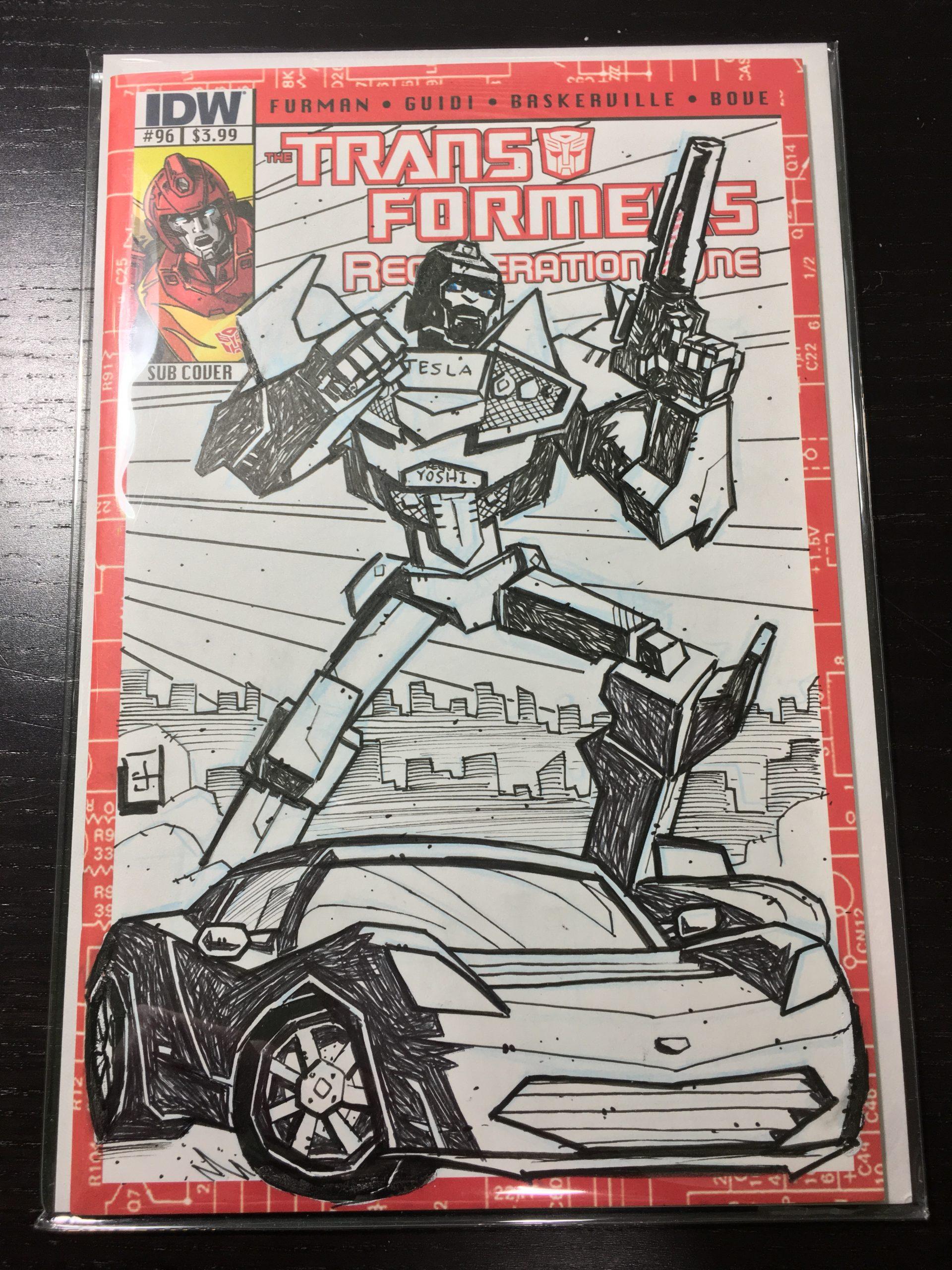 Tesla Roadster Transformers Comic (Credit: Artist/Josh, Yoshi)