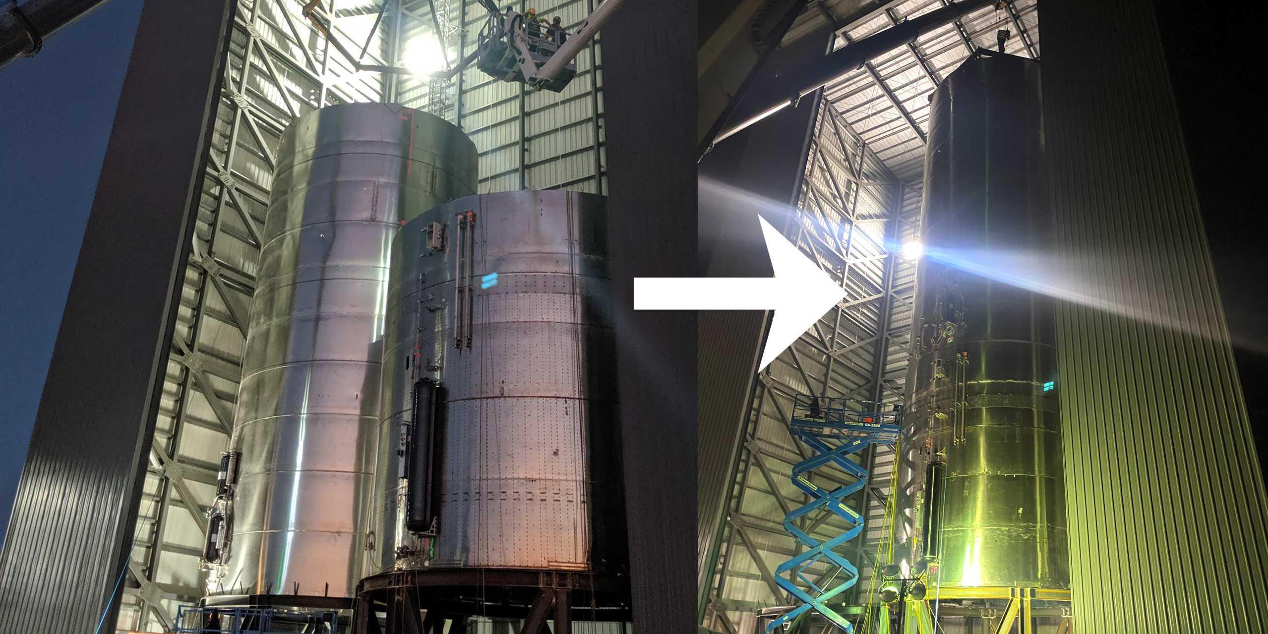 Starship SN3 tank section final stacking 032620 (Elon Musk) panel 1 arrow (c)