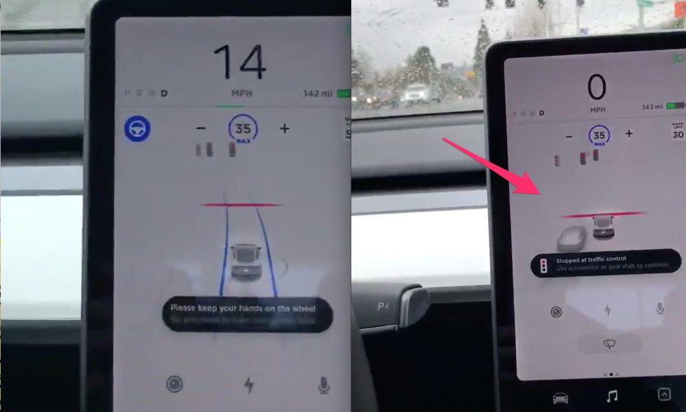 Tesla Autopilot stops at red light