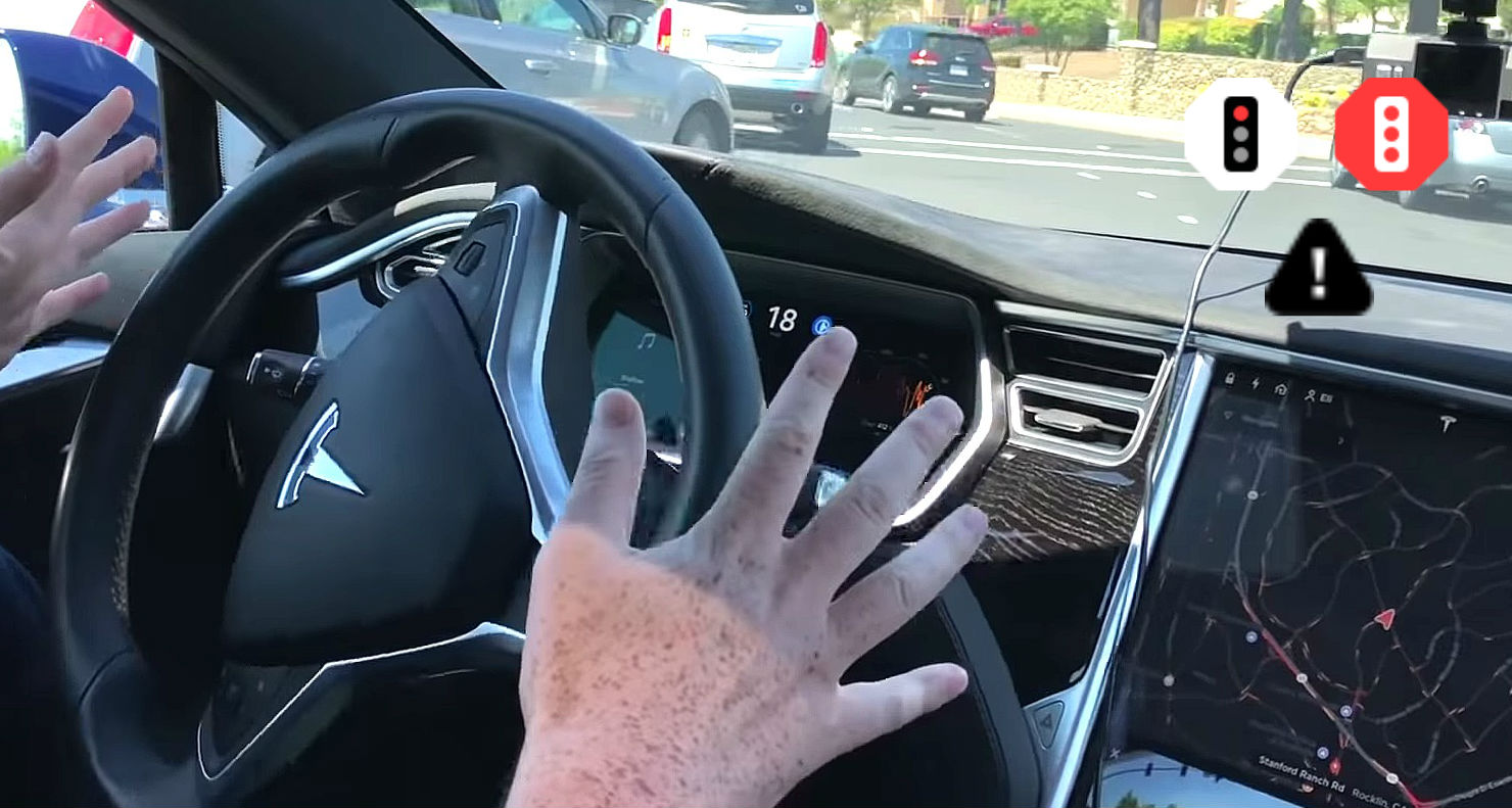 Tesla's new traffic light icons in Autopilot code hints at automatic stopping to come