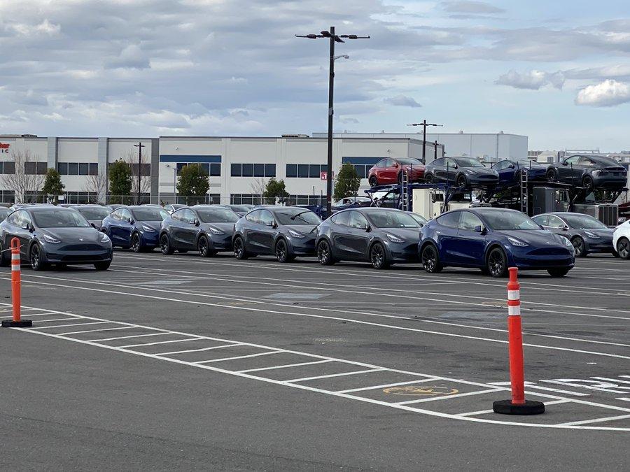 Tesla Model Y at Fremont factory parking lot