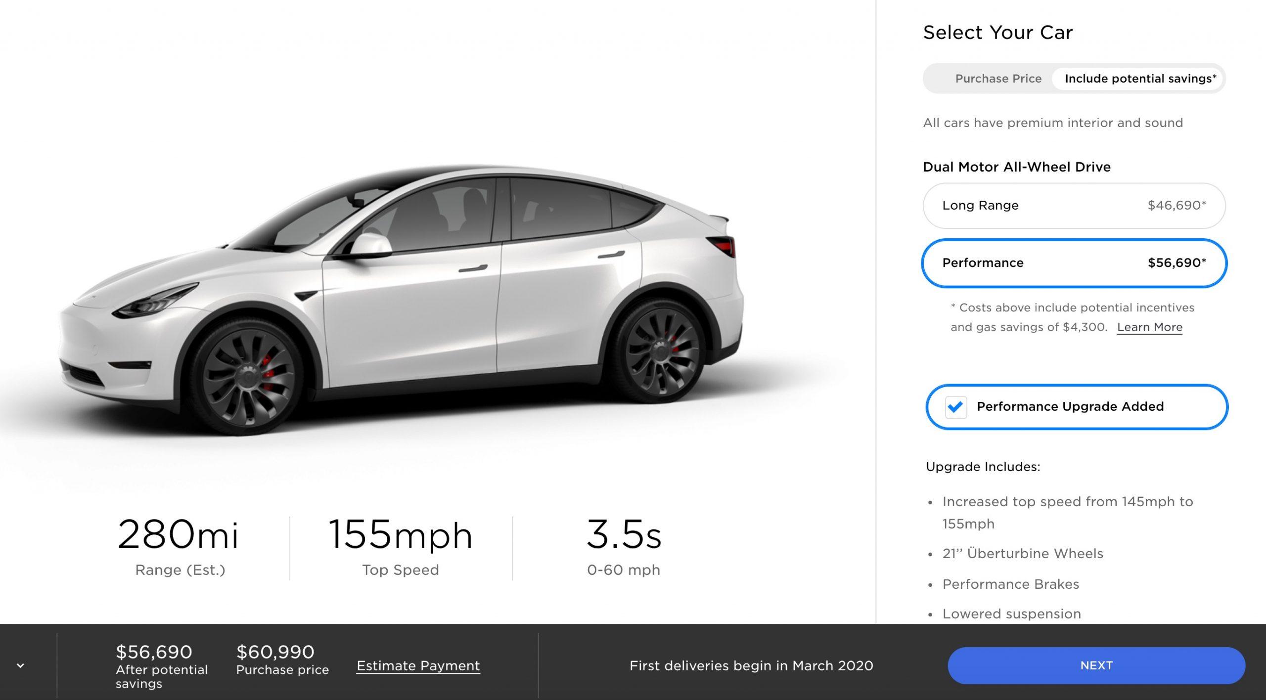 Tesla Model Y online configurator [March 2020]
