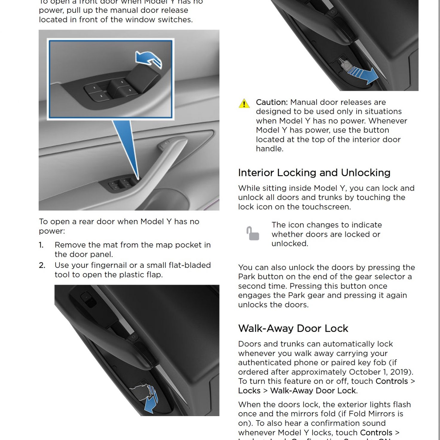 Tesla Model Y emergency door release