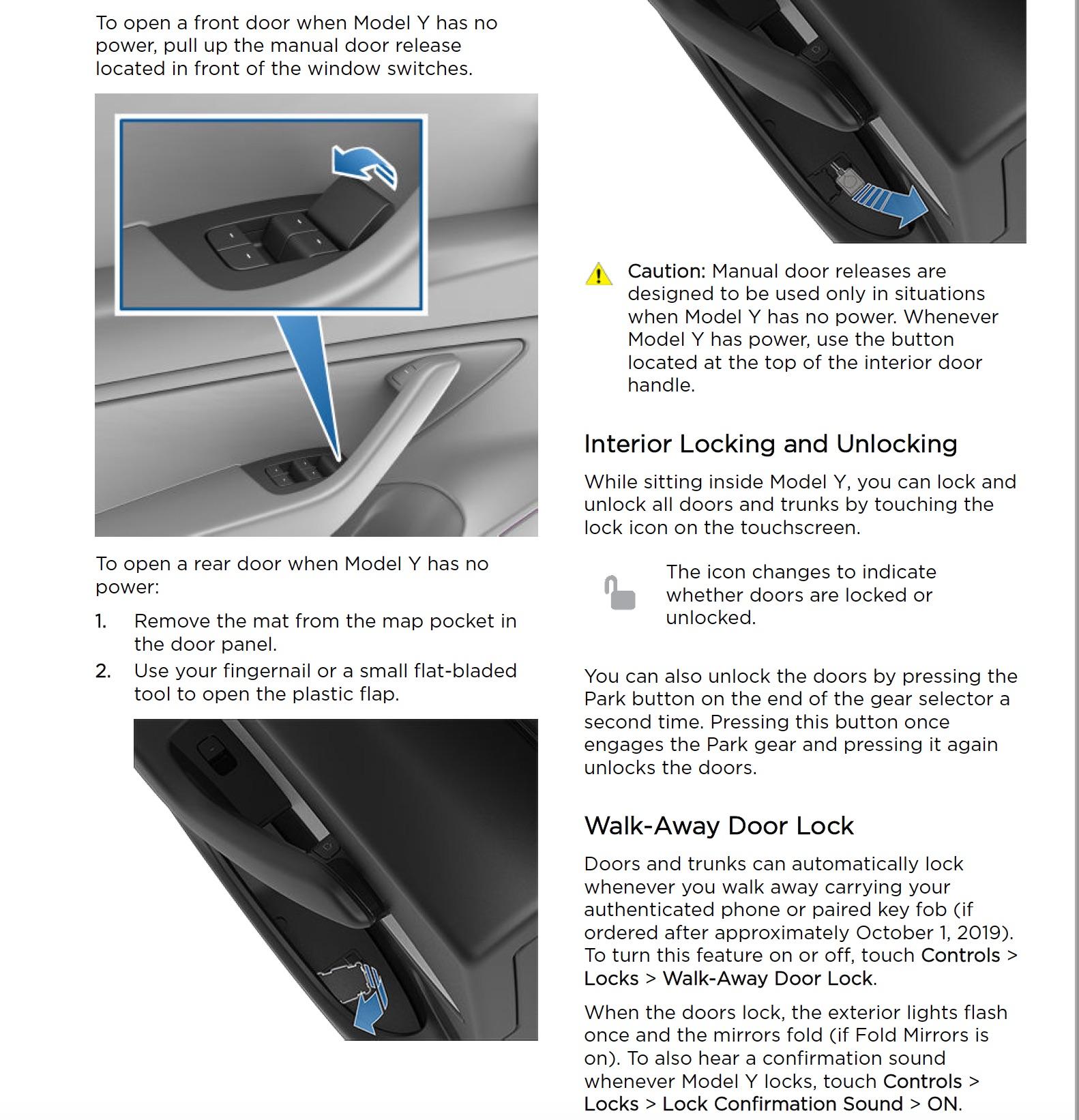 Tesla Model Y emergency door release