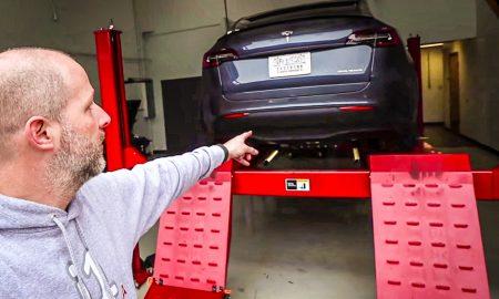 Tesla Model Y Performance on a car lift
