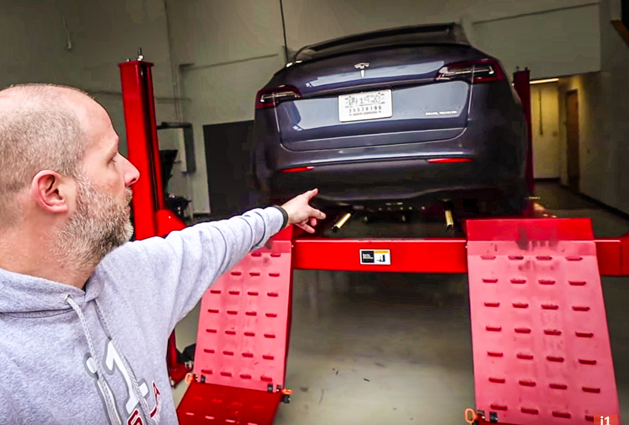 Tesla Model Y Performance on a car lift
