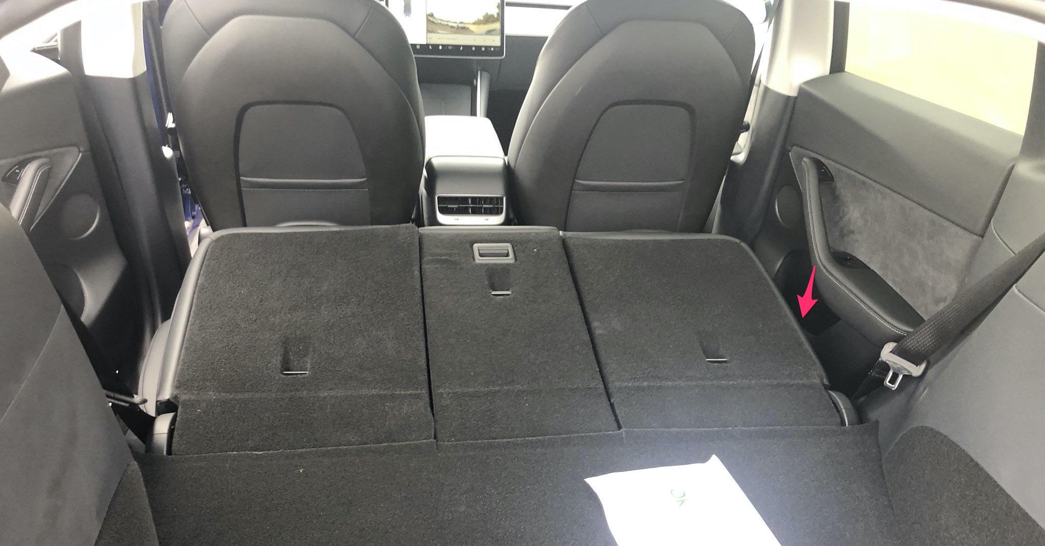 Tesla Model Y rear door emergency release
