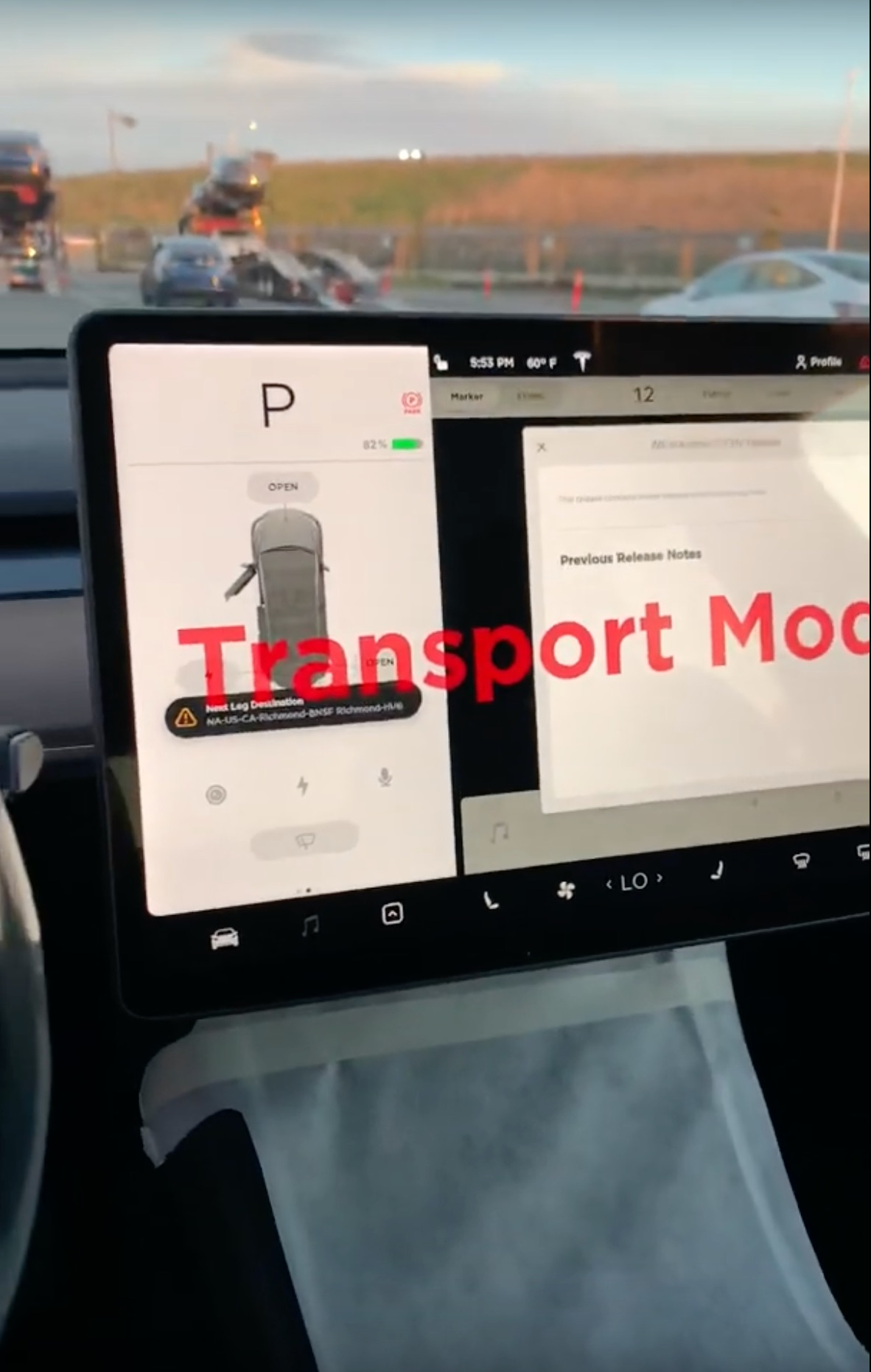 Tesla Model Y Transport Mode