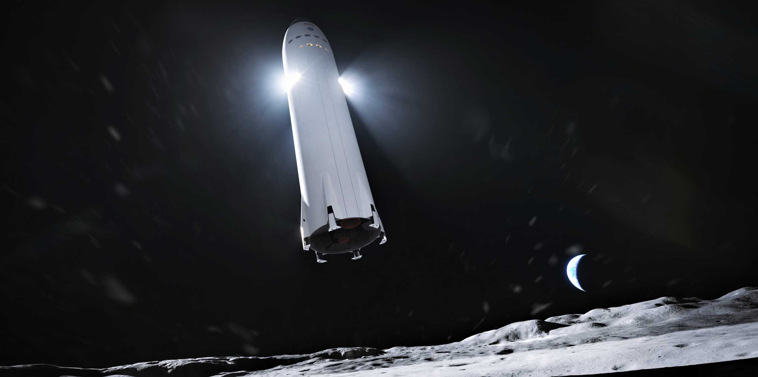 Lunar Starship Artemis (SpaceX) render 1 crop (c)
