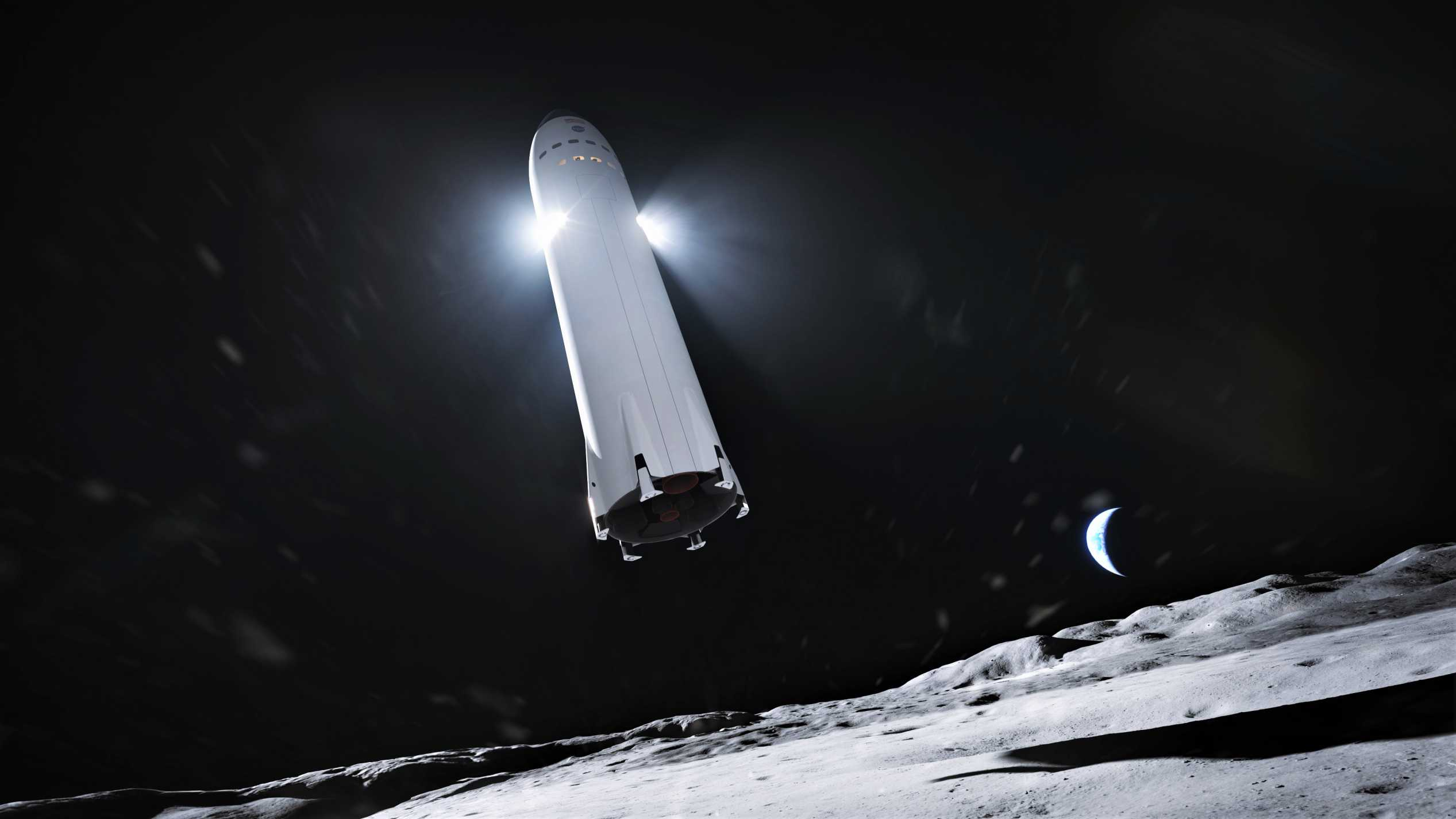 Lunar Starship Artemis (SpaceX) render 1 edit (c)