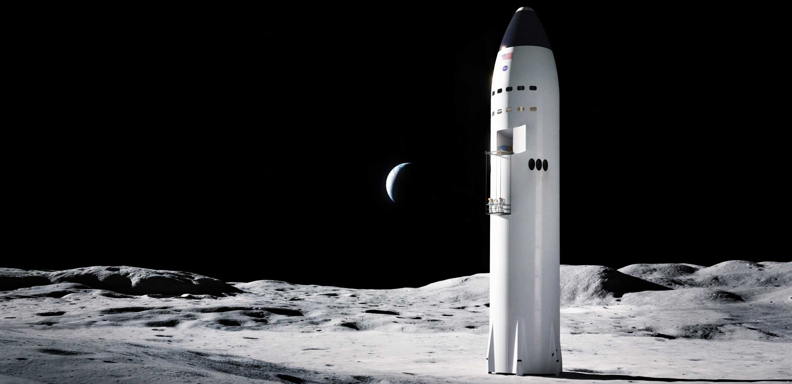 Lunar Starship Artemis (SpaceX) render 2 crop (c)