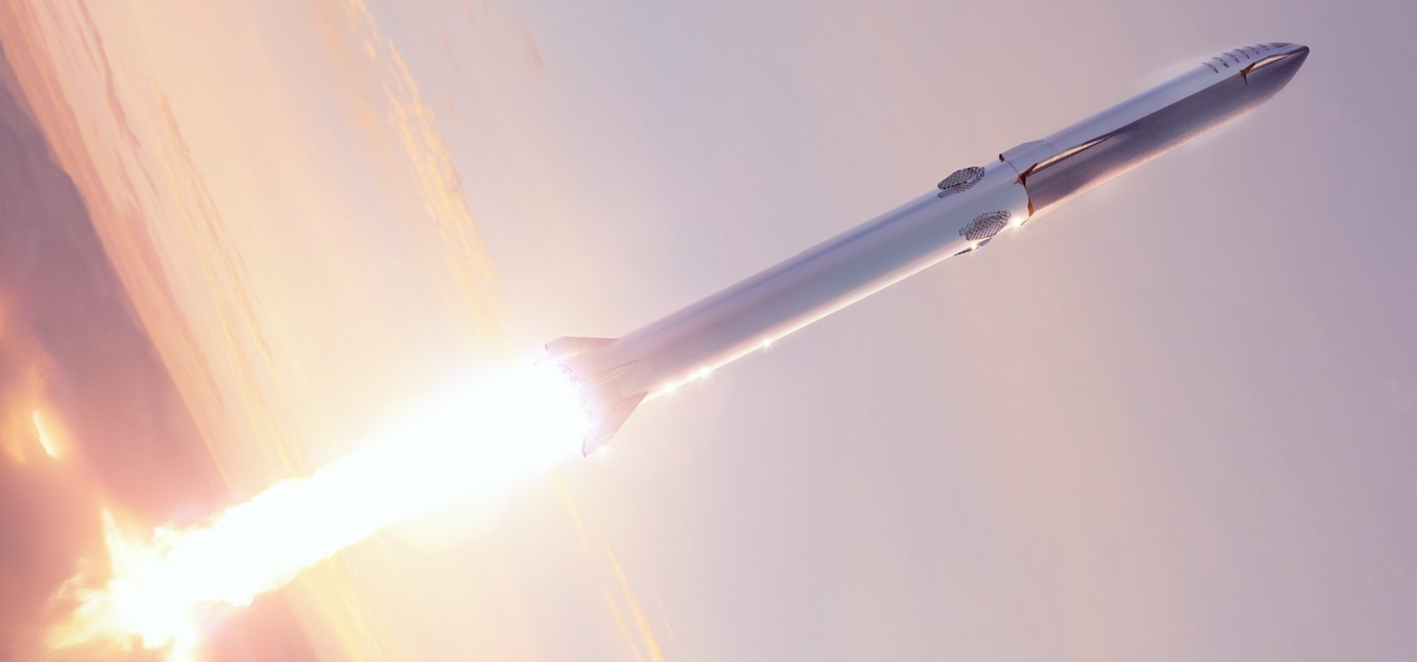 Starship 2019 (SpaceX) Super Heavy launch render 1 crop 3