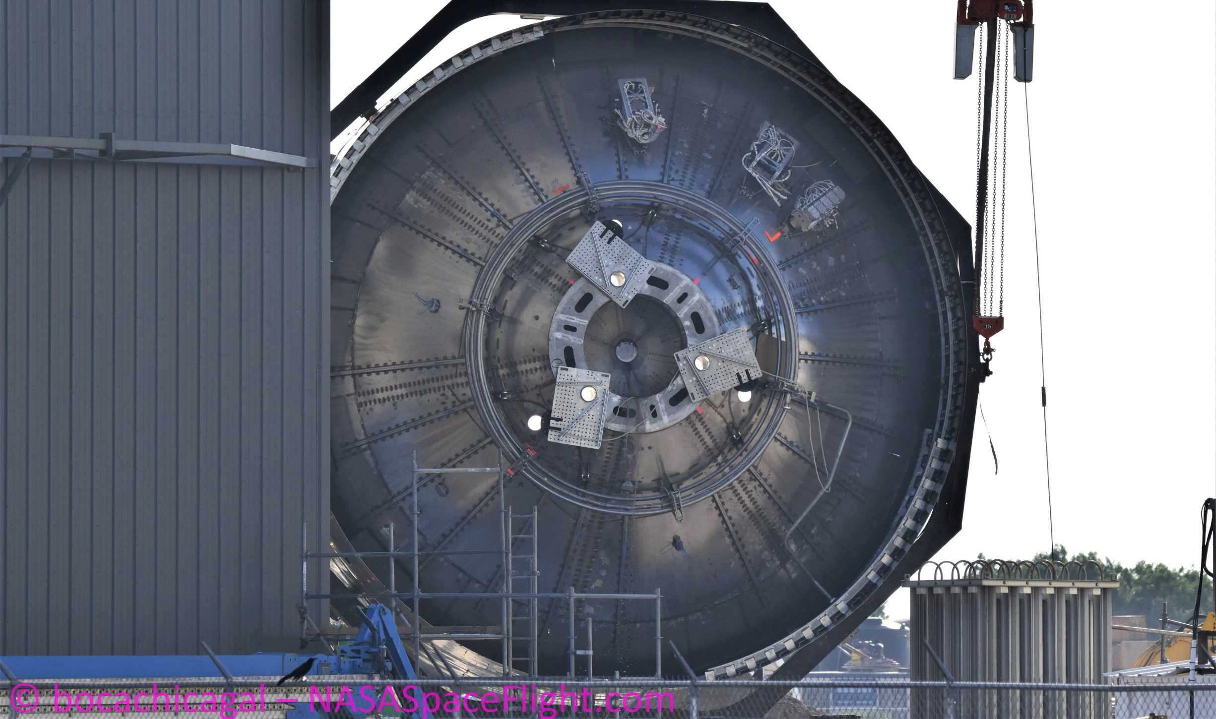 Starship Boca Chica 041220 (NASASpaceflight – bocachicagal) SN4 engine section flip 4 crop (c)