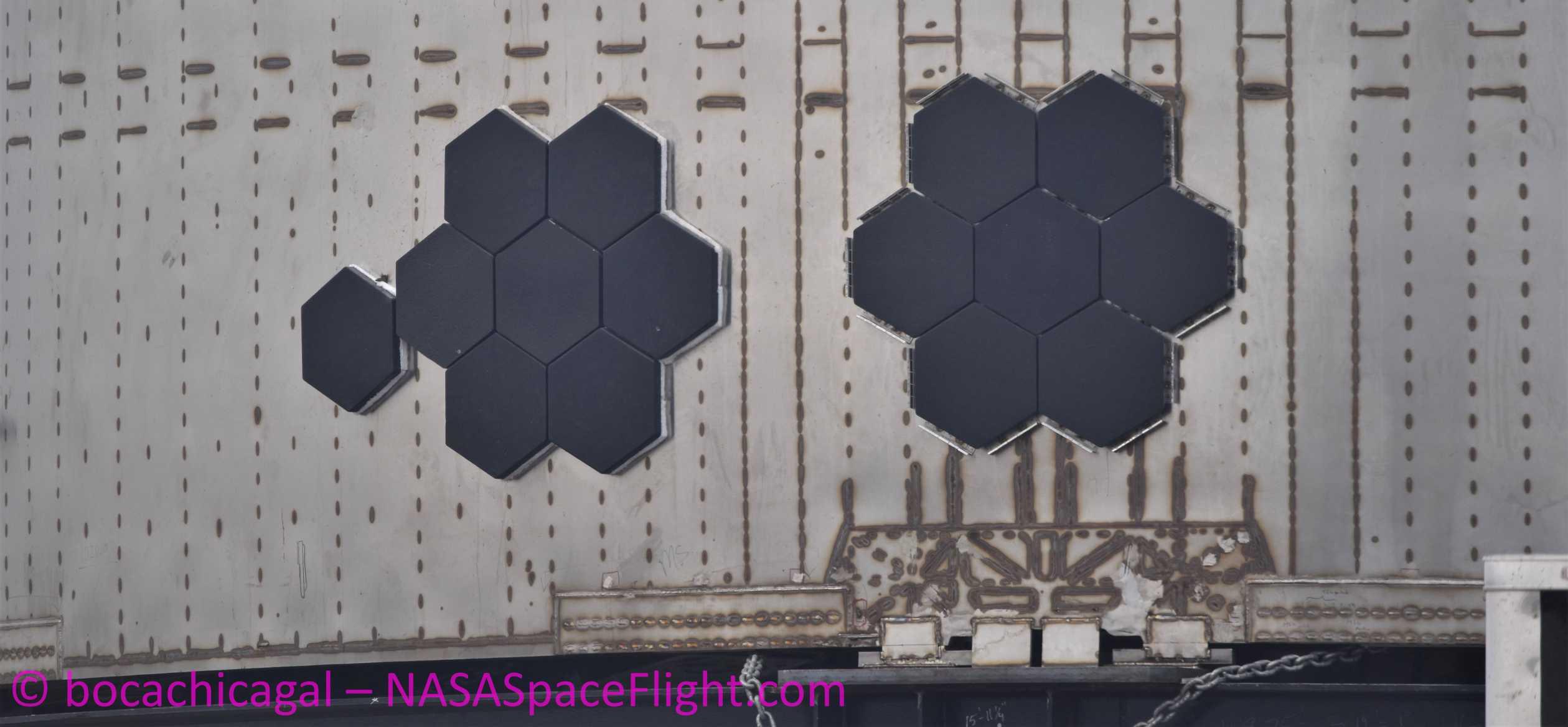 Starship Boca Chica 042320 (NASASpaceflight – bocachicagal) SN4 pad move TPS 2 crop (c)