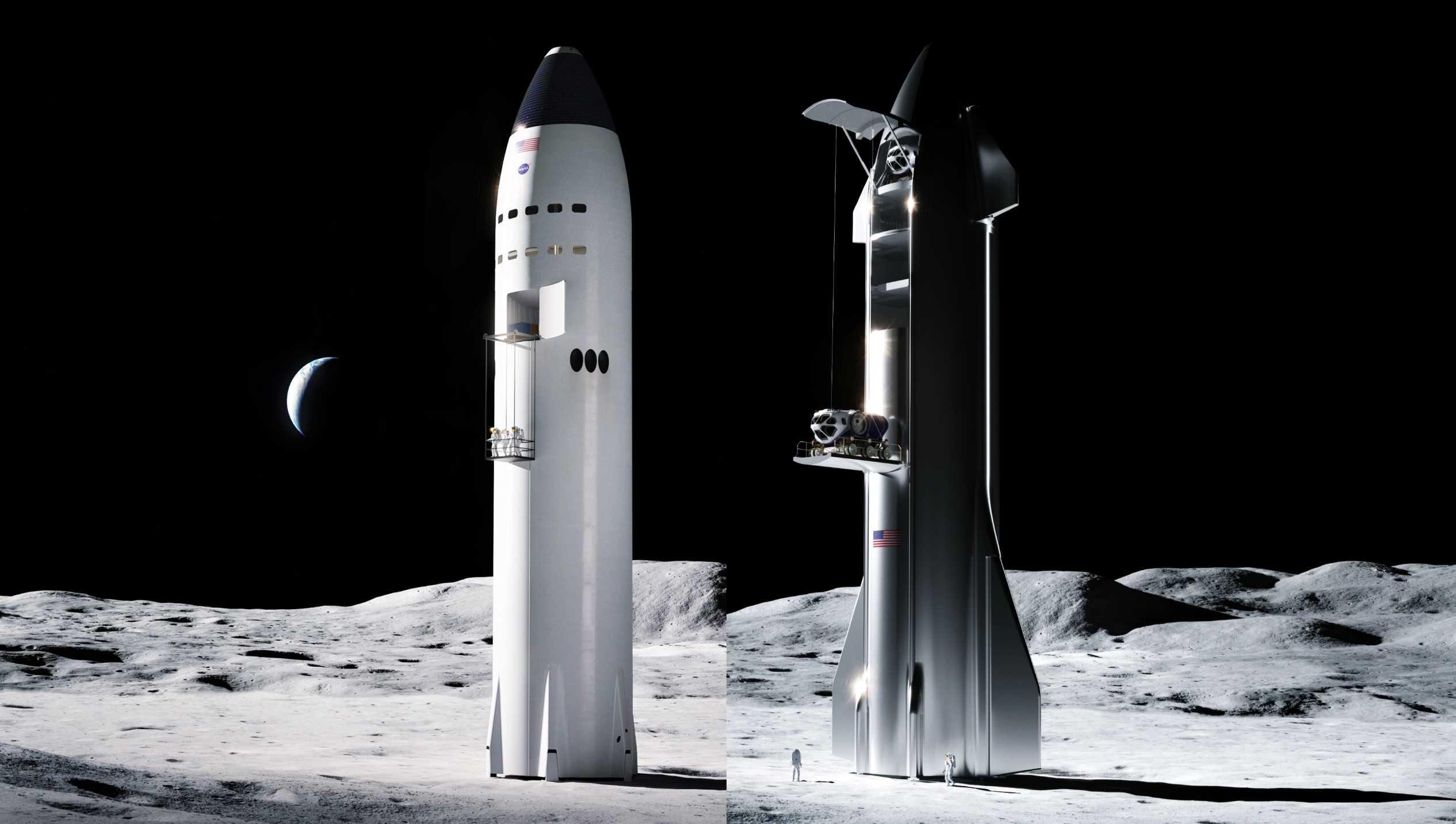 Starship (SpaceX) Moon vs Moon 1 (c)