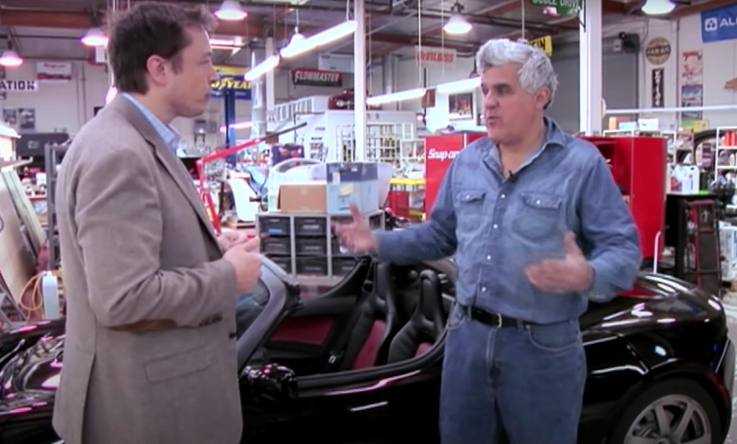Elon Musk delivers Jay Leno a Tesla Roadster