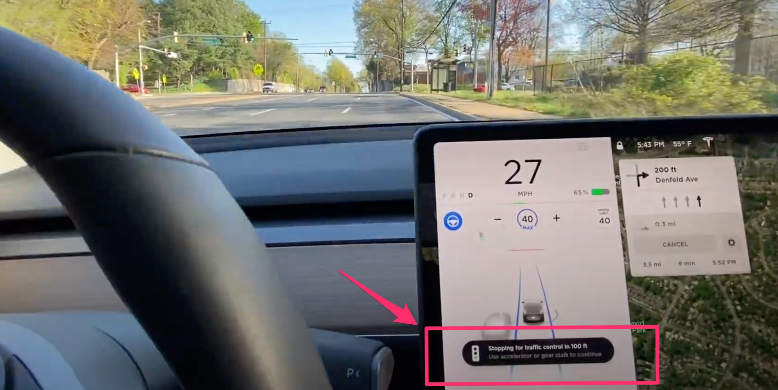 Tesla Traffic Light and Stop Sign Control
