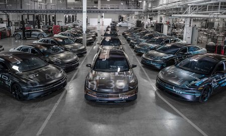 Lucid Air prototypes sit in the company's Headquarters in Silicon Valley. (Credit: Lucid Motors)