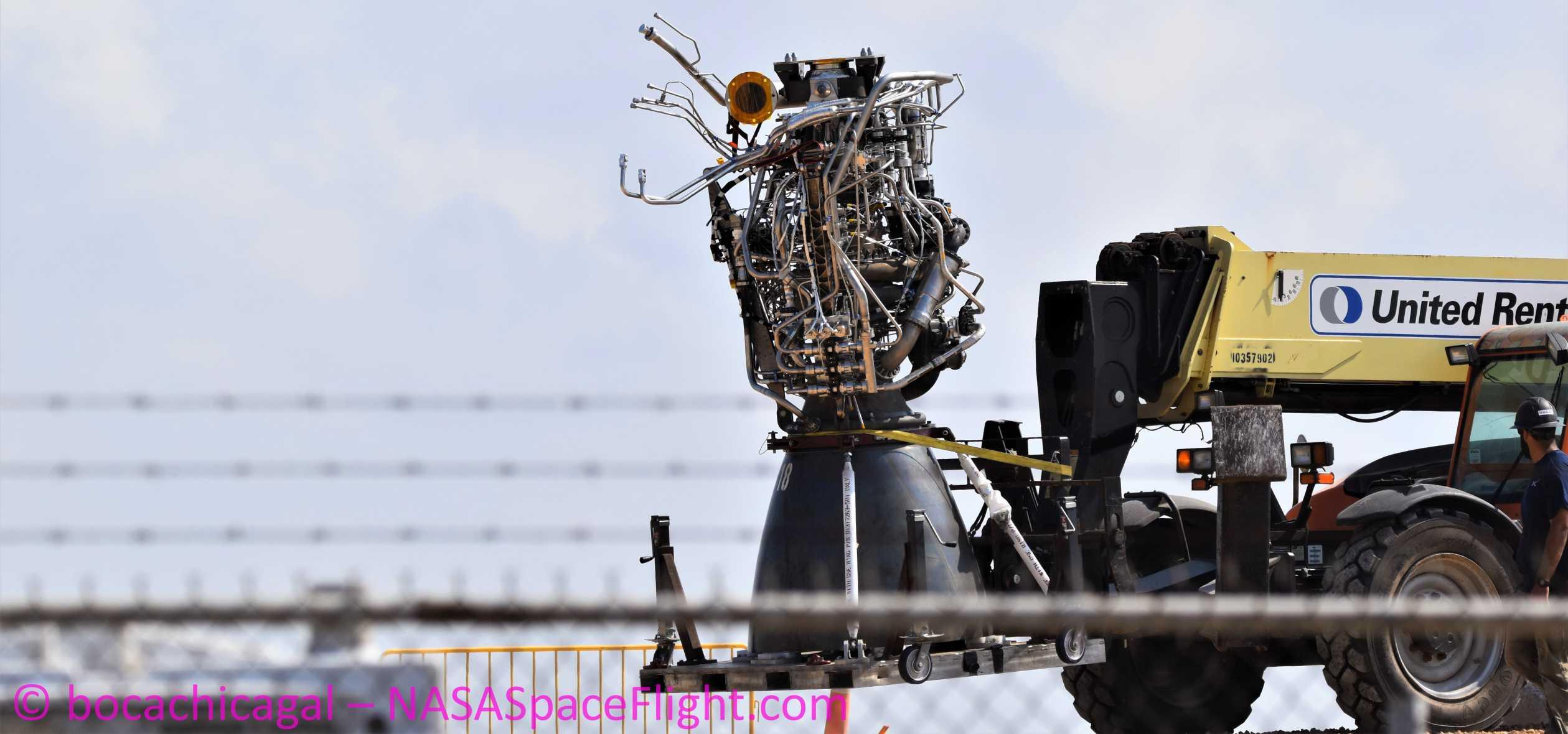 Starship Boca Chica 050720 (NASASpaceflight – bocachicagal) SN4 Raptor removal 3 crop (c)