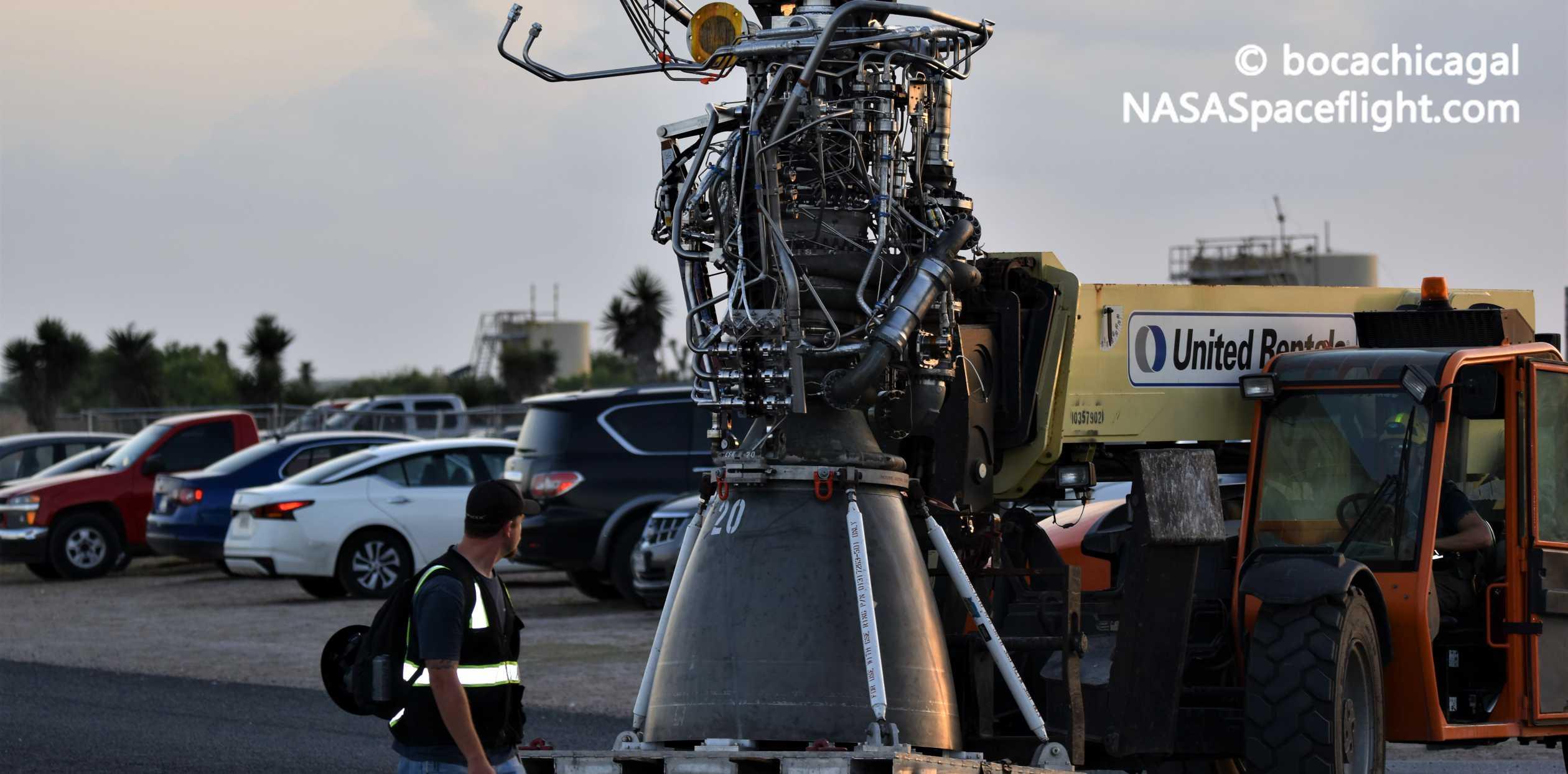 Starship Boca Chica 051020 (NASASpaceflight – bocachicagal) SN4 Raptor SN20 delivery 2 crop (c)