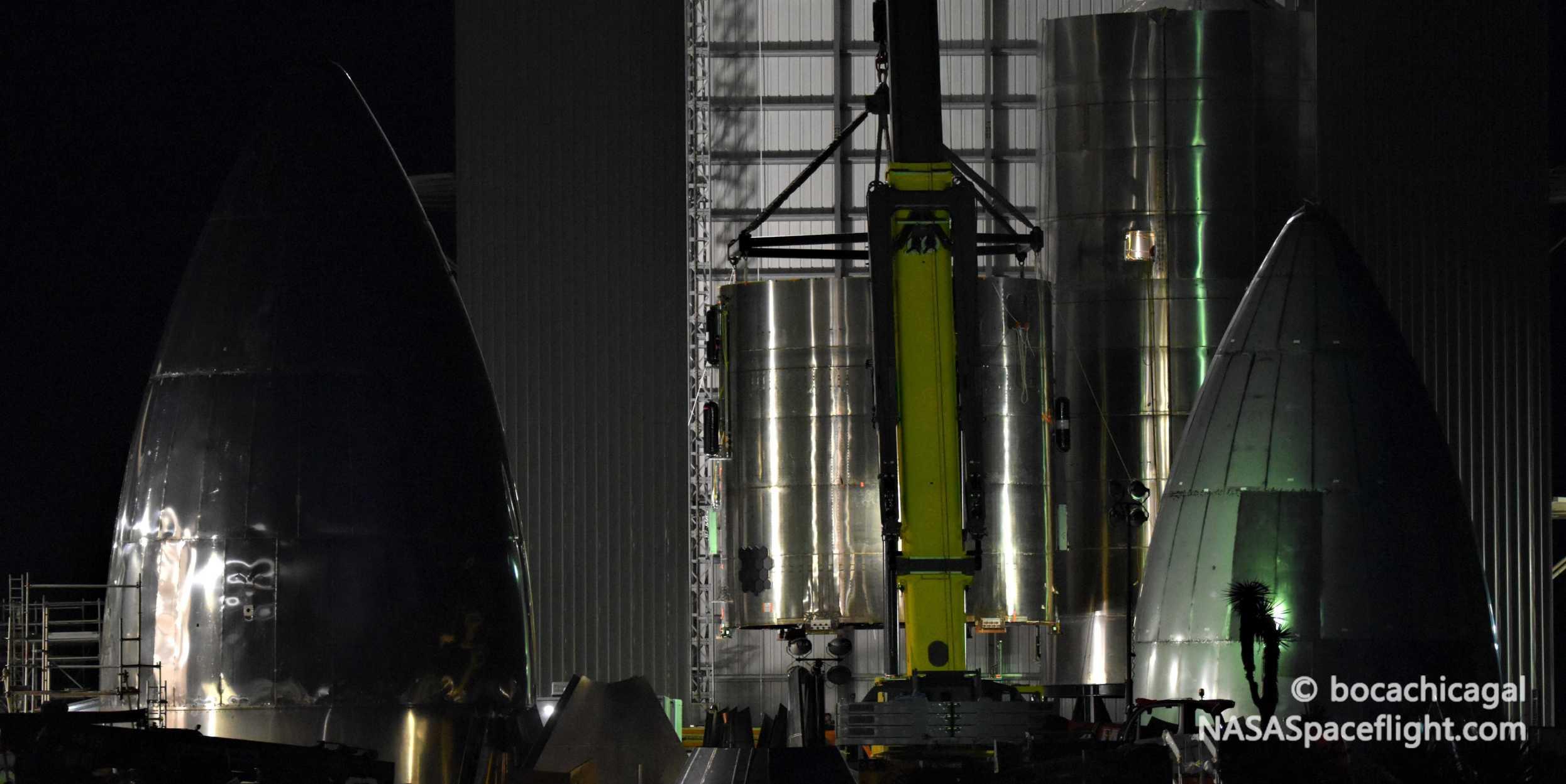 Starship Boca Chica 051120 (NASASpaceflight – bocachicagal) SN5 engine section move 5 crop (c)