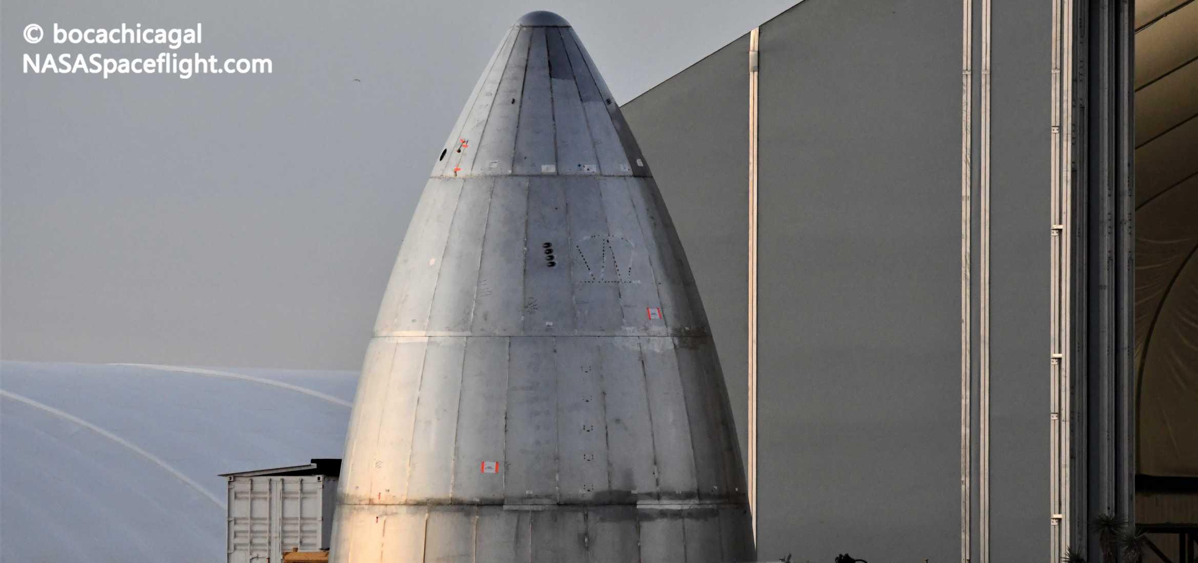 Starship Boca Chica 051720 (NASASpaceflight – bocachicagal) new nose 1 crop (c)