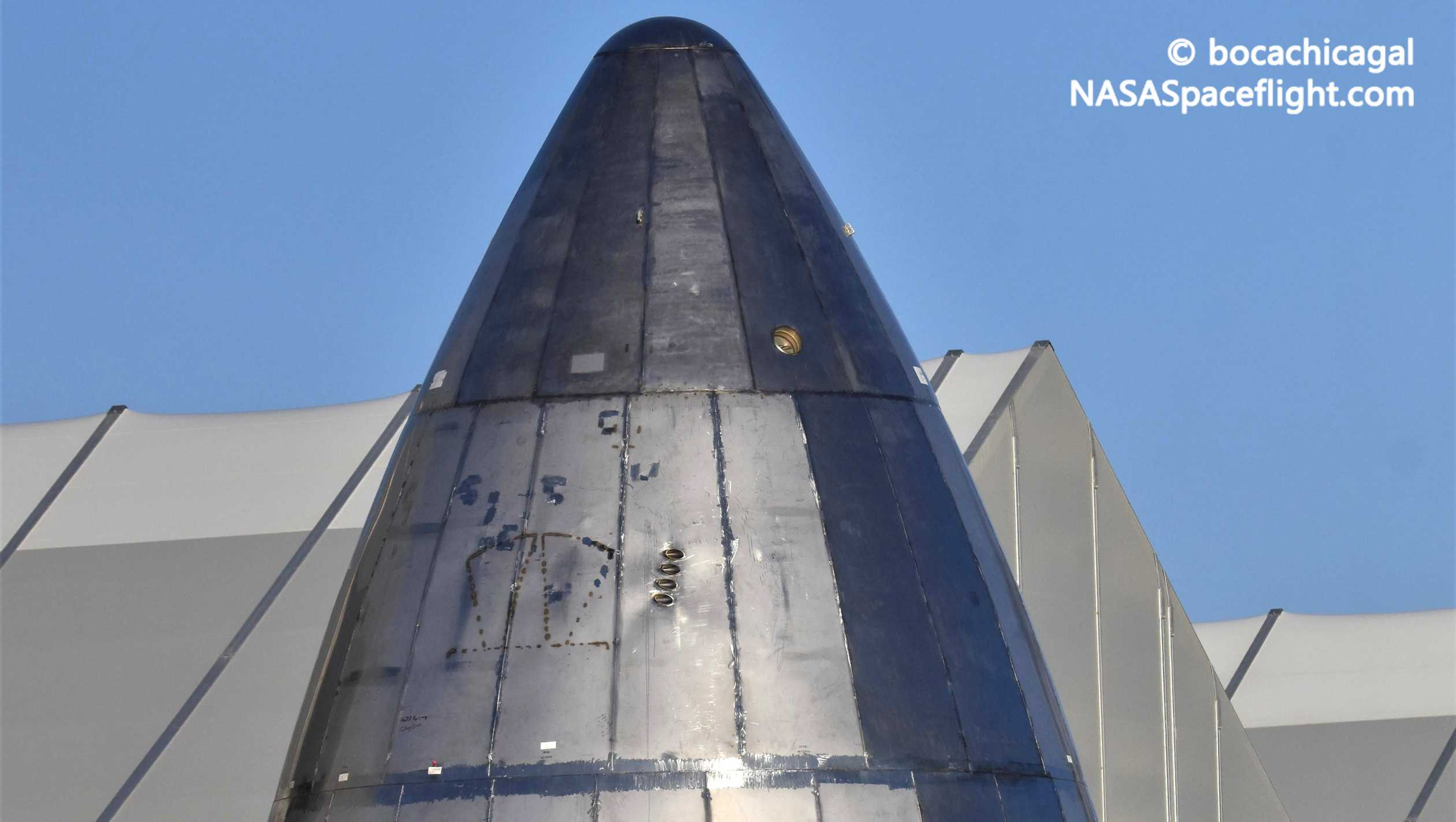 Starship Boca Chica 051820 (NASASpaceflight – bocachicagal) SN5 nosecone 1 crop (c)