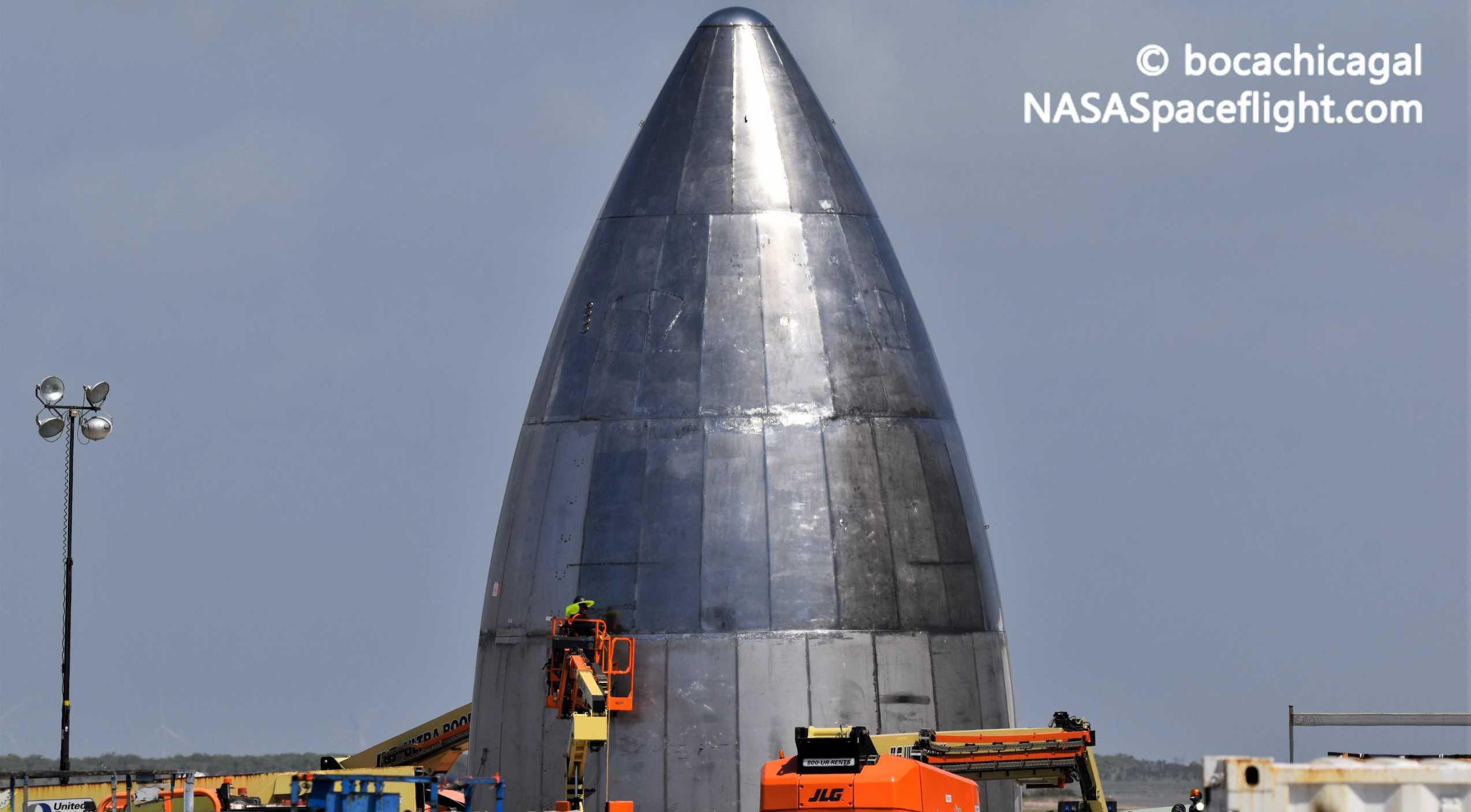 Starship Boca Chica 052320 (NASASpaceflight – bocachicagal) SN5 nose work 2 crop (c)