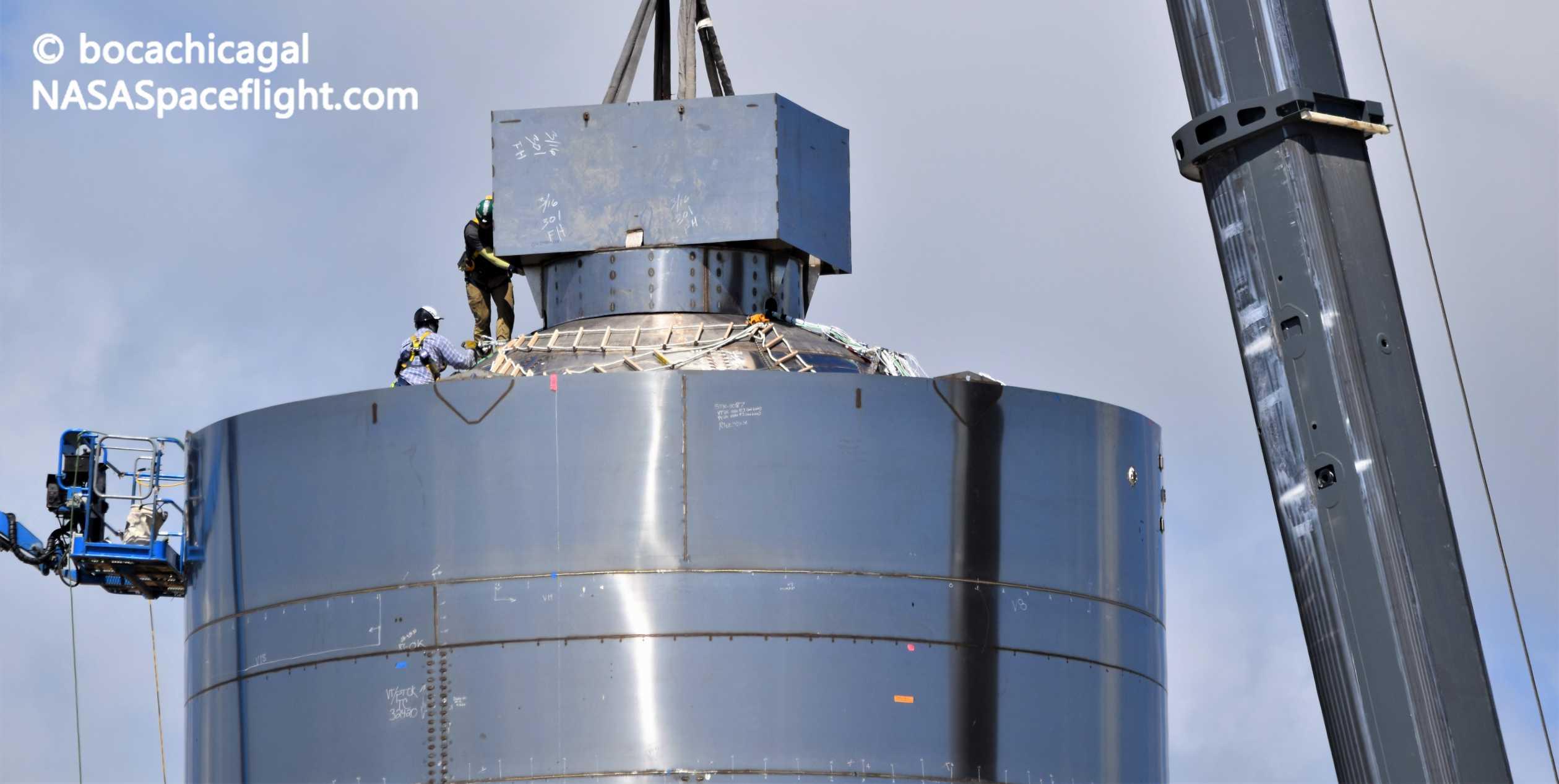 Starship Boca Chica 052720 (NASASpaceflight – bocachicagal) SN4 ballast install 8 crop(c)