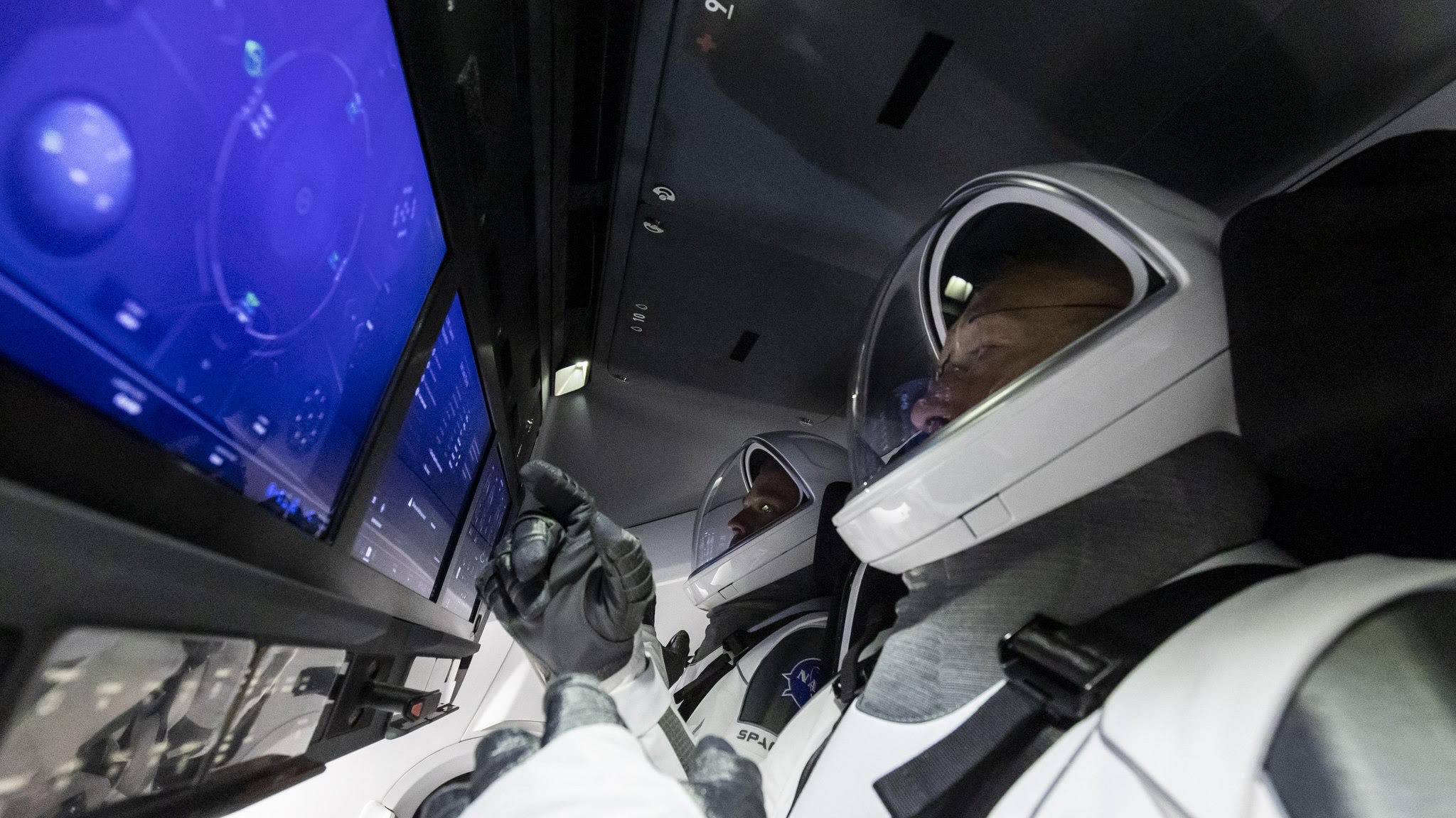 crew in cockpit
