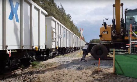 Tesla's trains at the Giga Berlin site. The trains will transport gravel to the site, allowing for the installation of temporary construction roads.